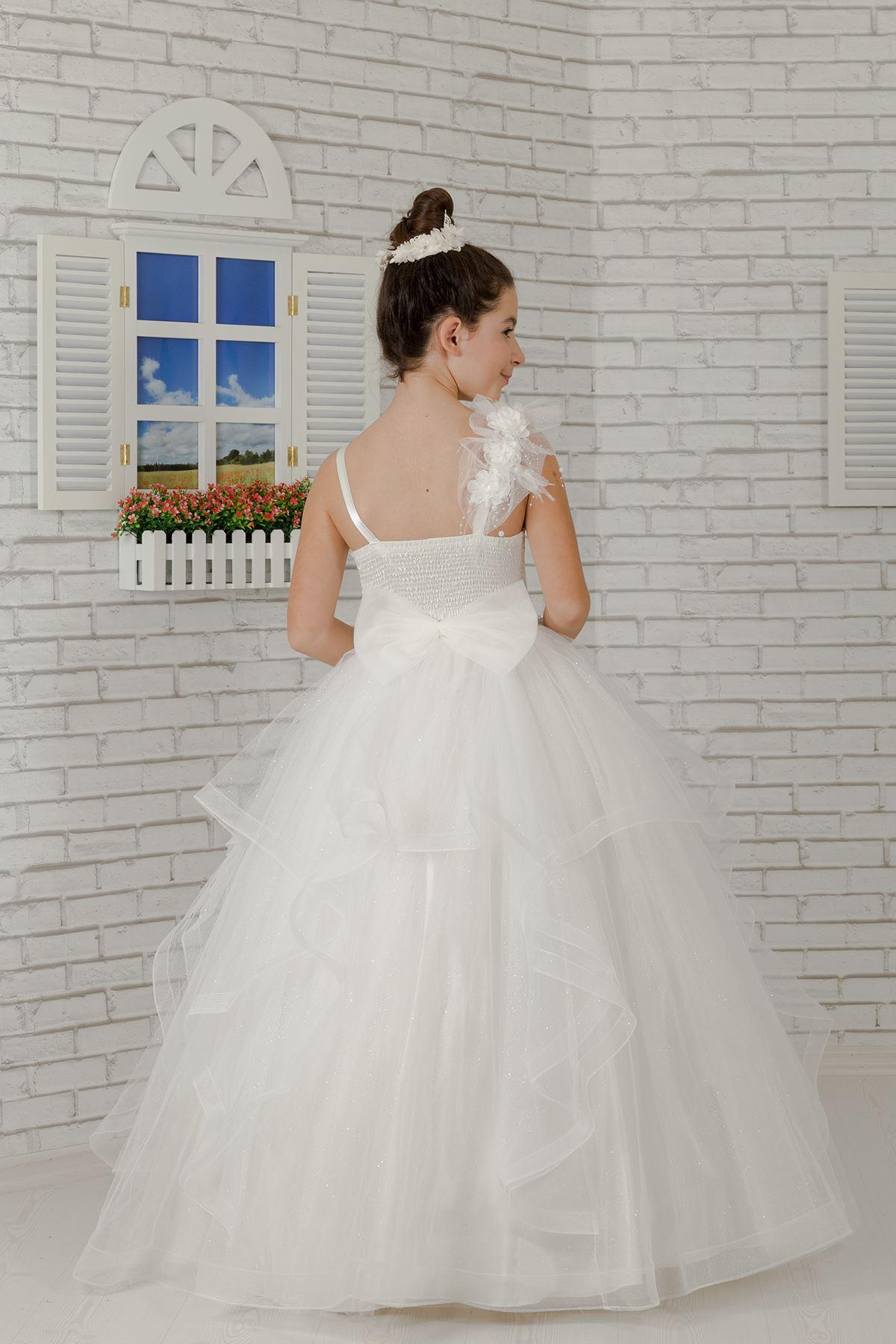 גוף רקום, פרט בכתפיים, טול שמלת ערב ילדה פלאפי 611 קרם
