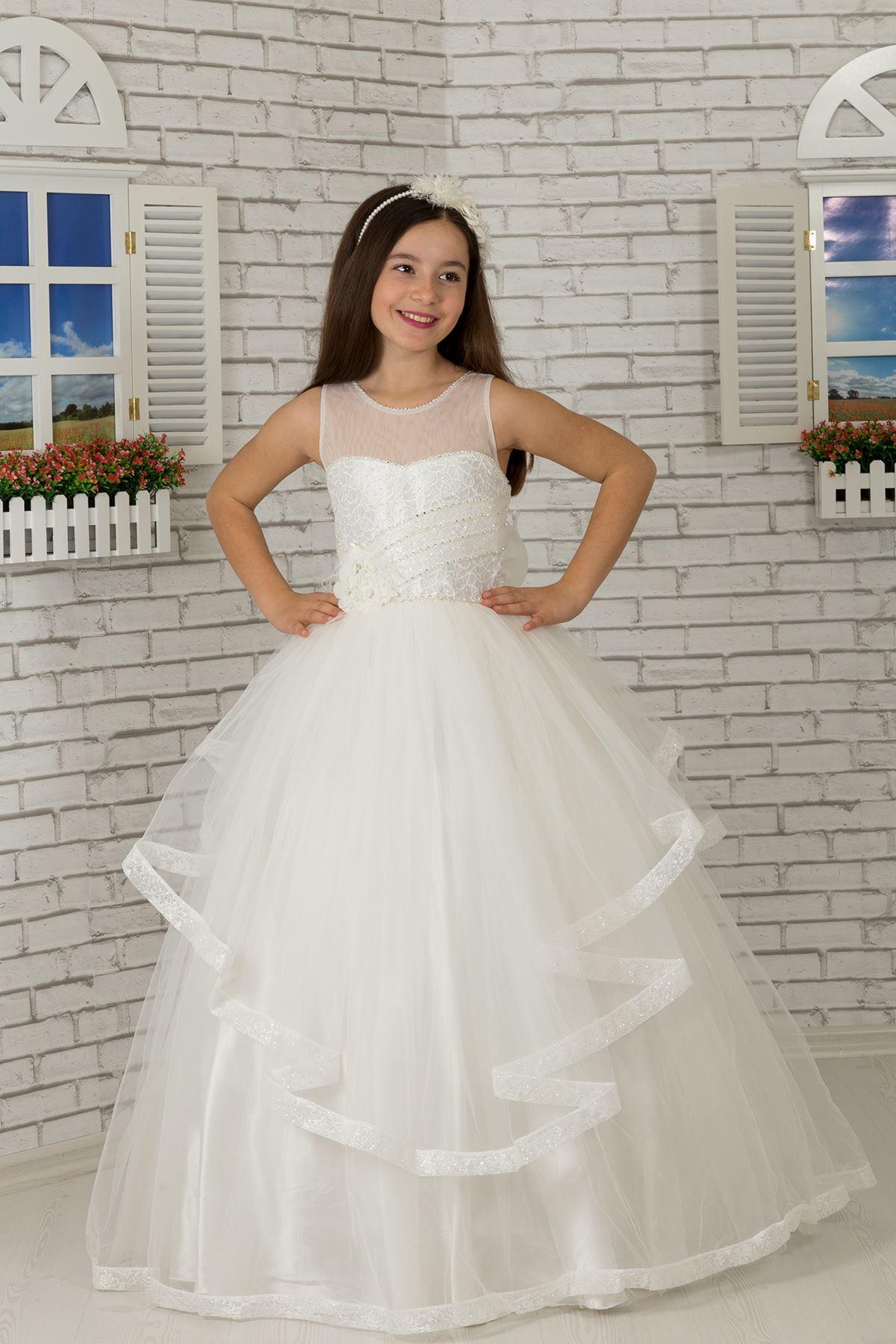 Body Detail, Tulle Fluffy Girl Evening Dress 602 Cream