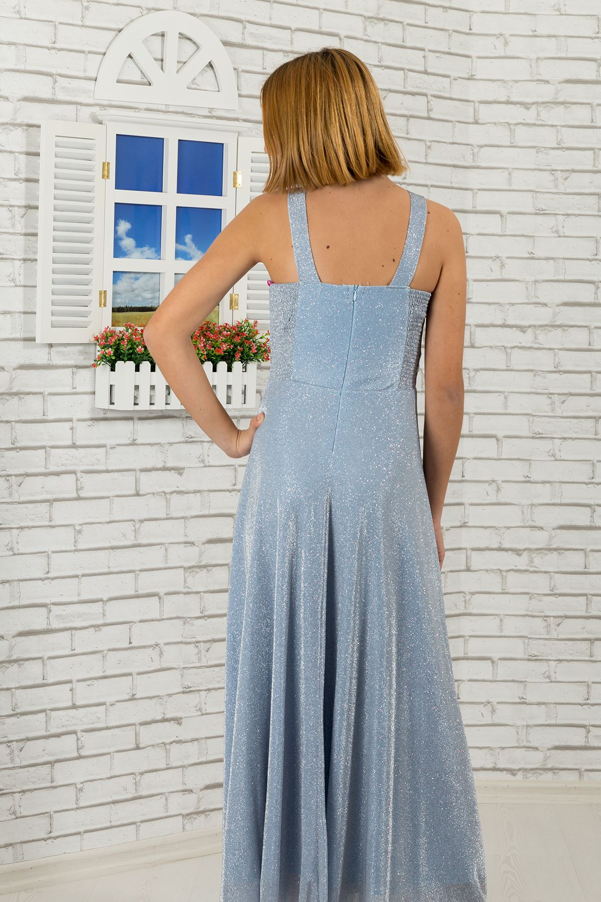 Waist and neck Stone detailed, silvery fabric girl children evening dress 469 baby blue