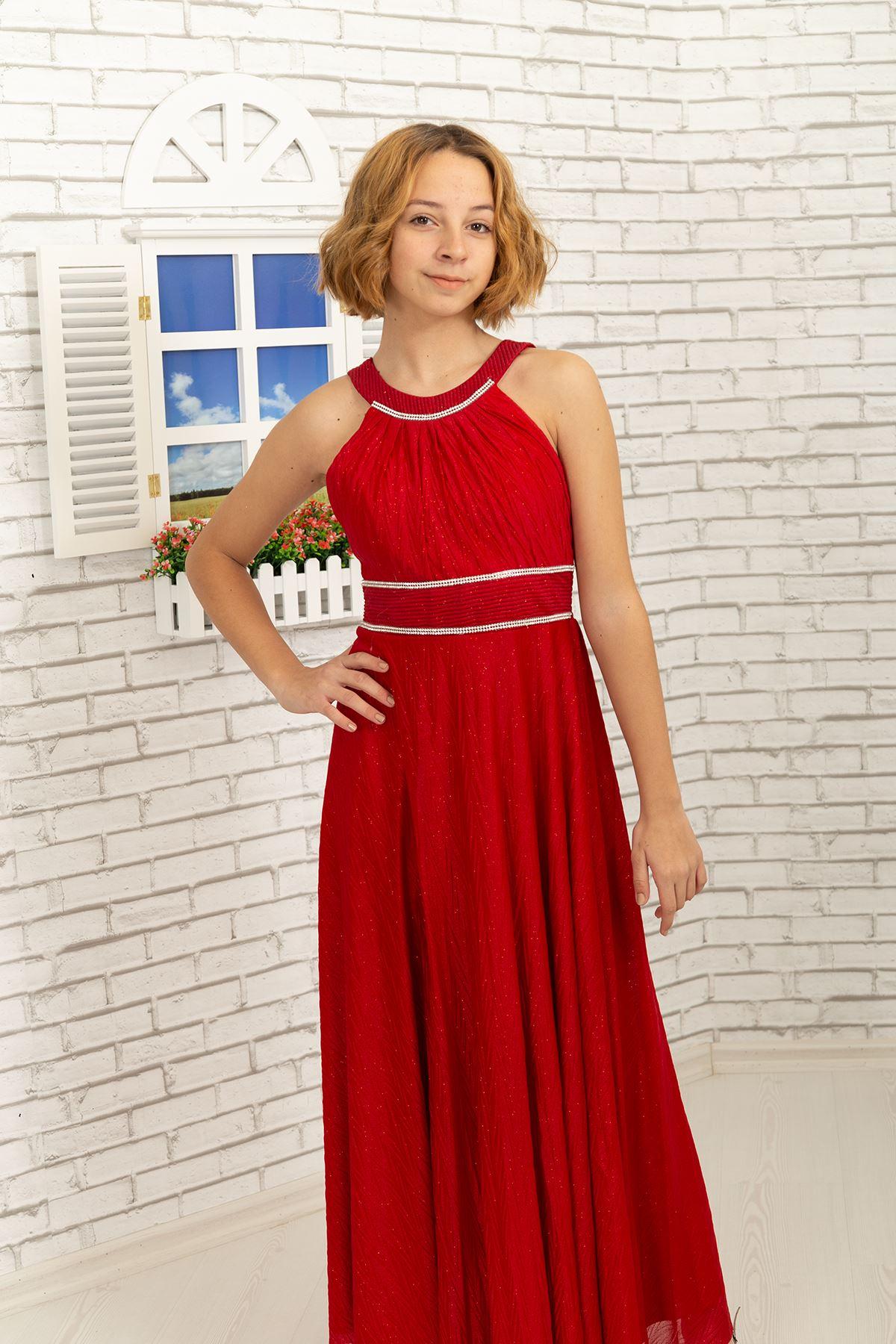 Μέση και Λαιμός πέτρα λεπτομερής, ζιγκ-ζαγκ ασημένιο Σιφόν κορίτσι βραδινό φόρεμα 468 Κόκκινο