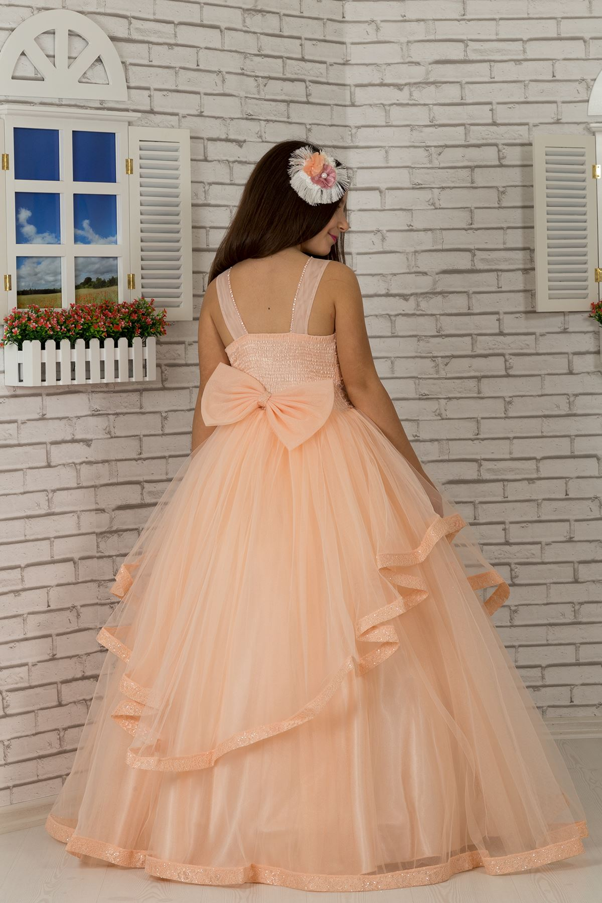 Body Detailed, Tulle Fluffy Girl's Evening Dress 602 Salmon