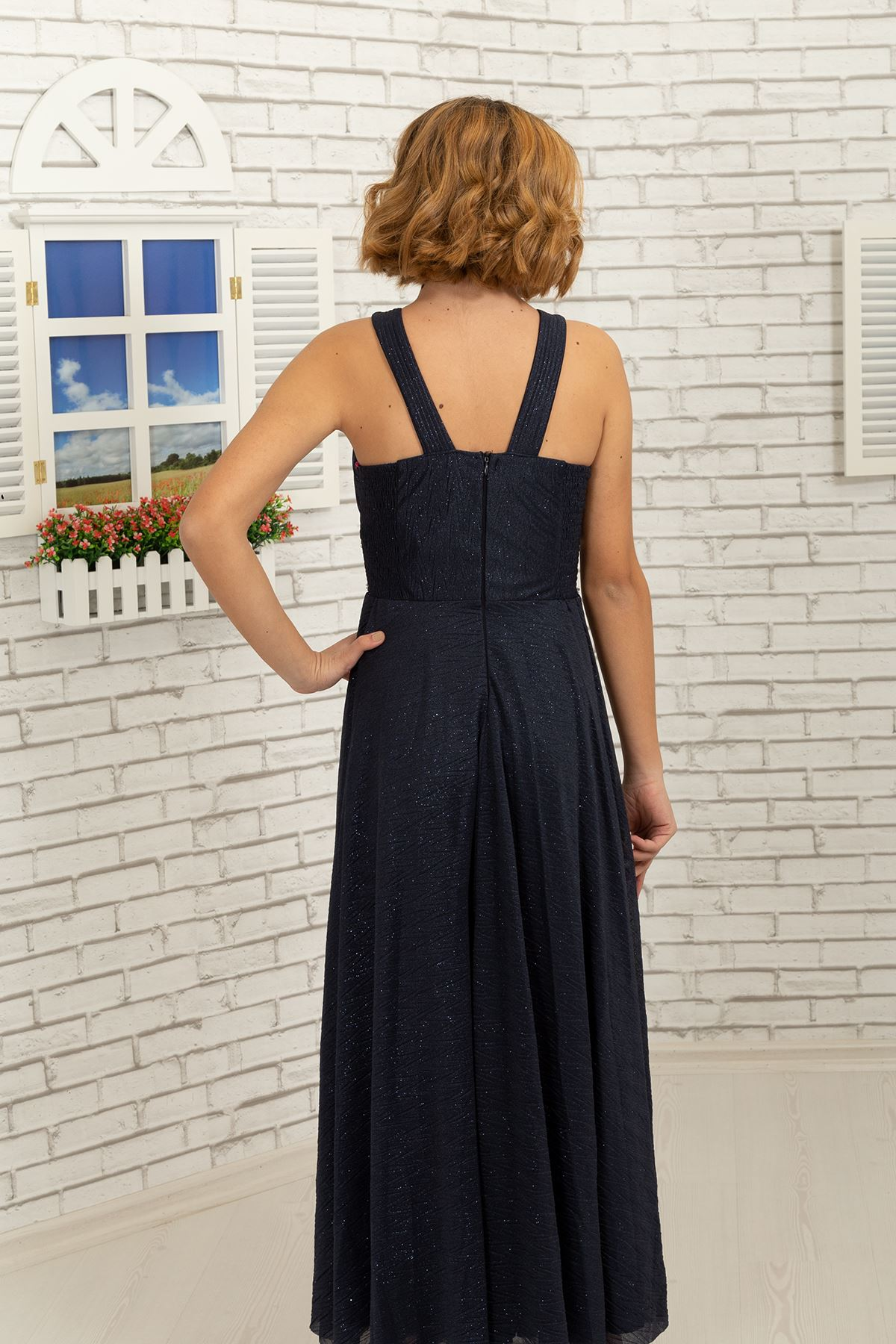 Waist and neck Stone detailed, zigzag silvery chiffon girl children evening dress 468 Navy Blue