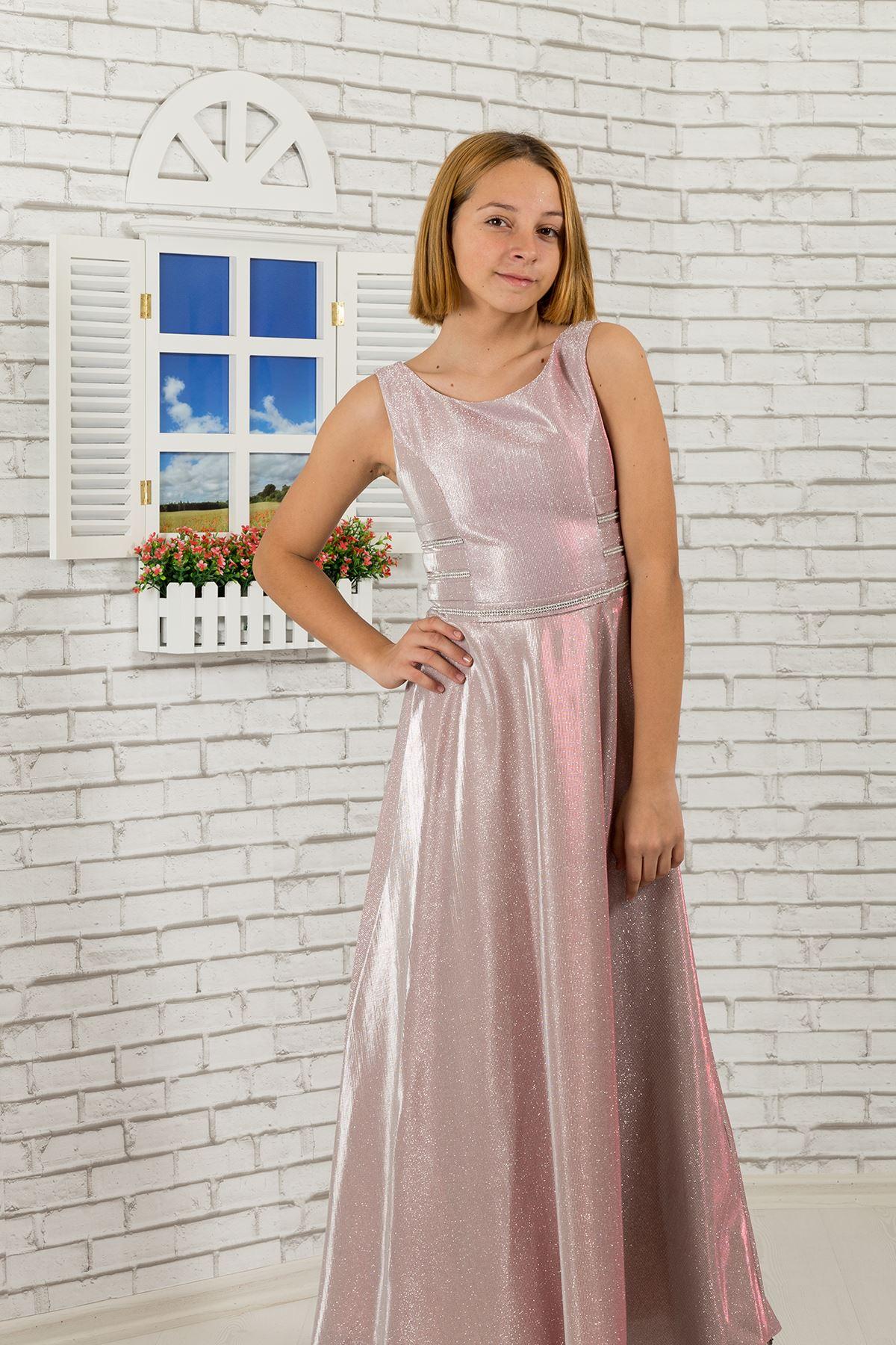 Taille detaillierte, silbrig Stoff Mädchen Kinder Abendkleid 479 Pulver