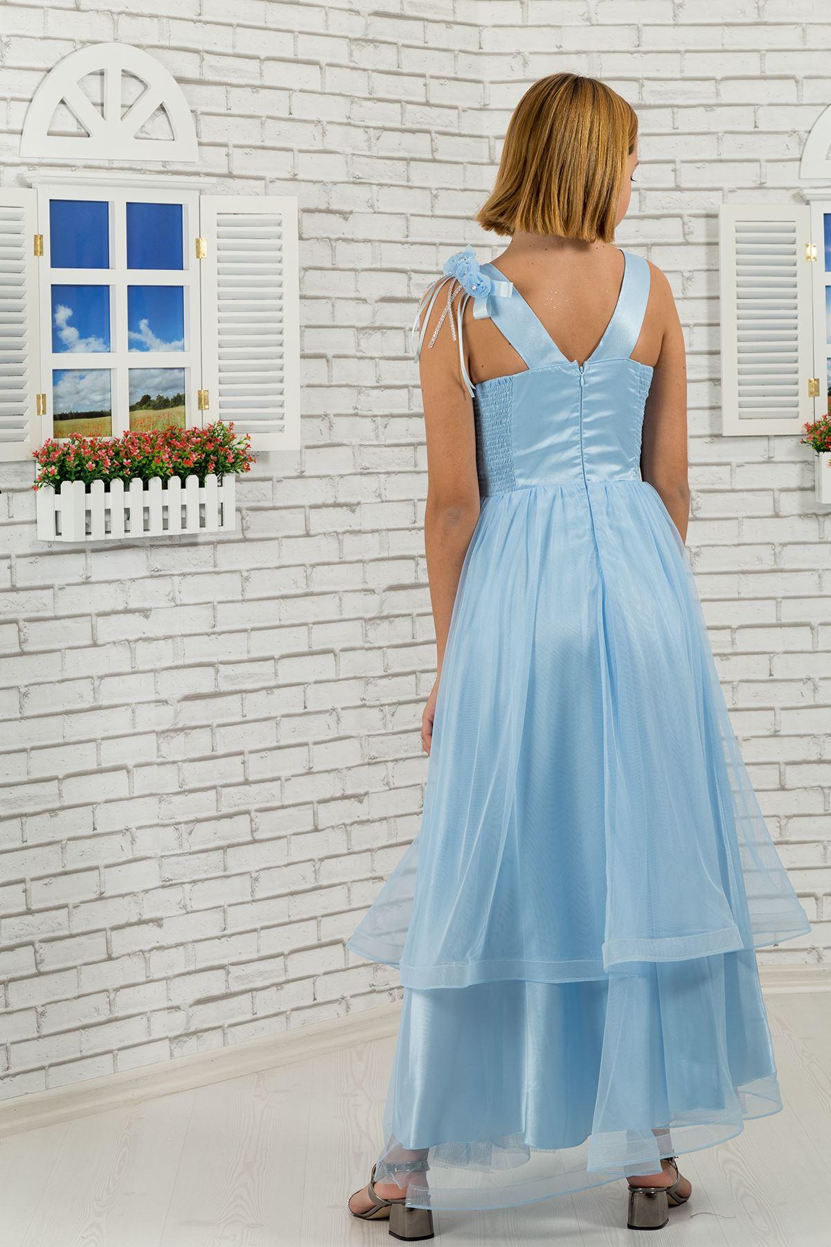 Corps paillettes, épaule et taille fleur détaillée, étage couche tulle Fille Enfants Robe de soirée 465 Bébé Bleu