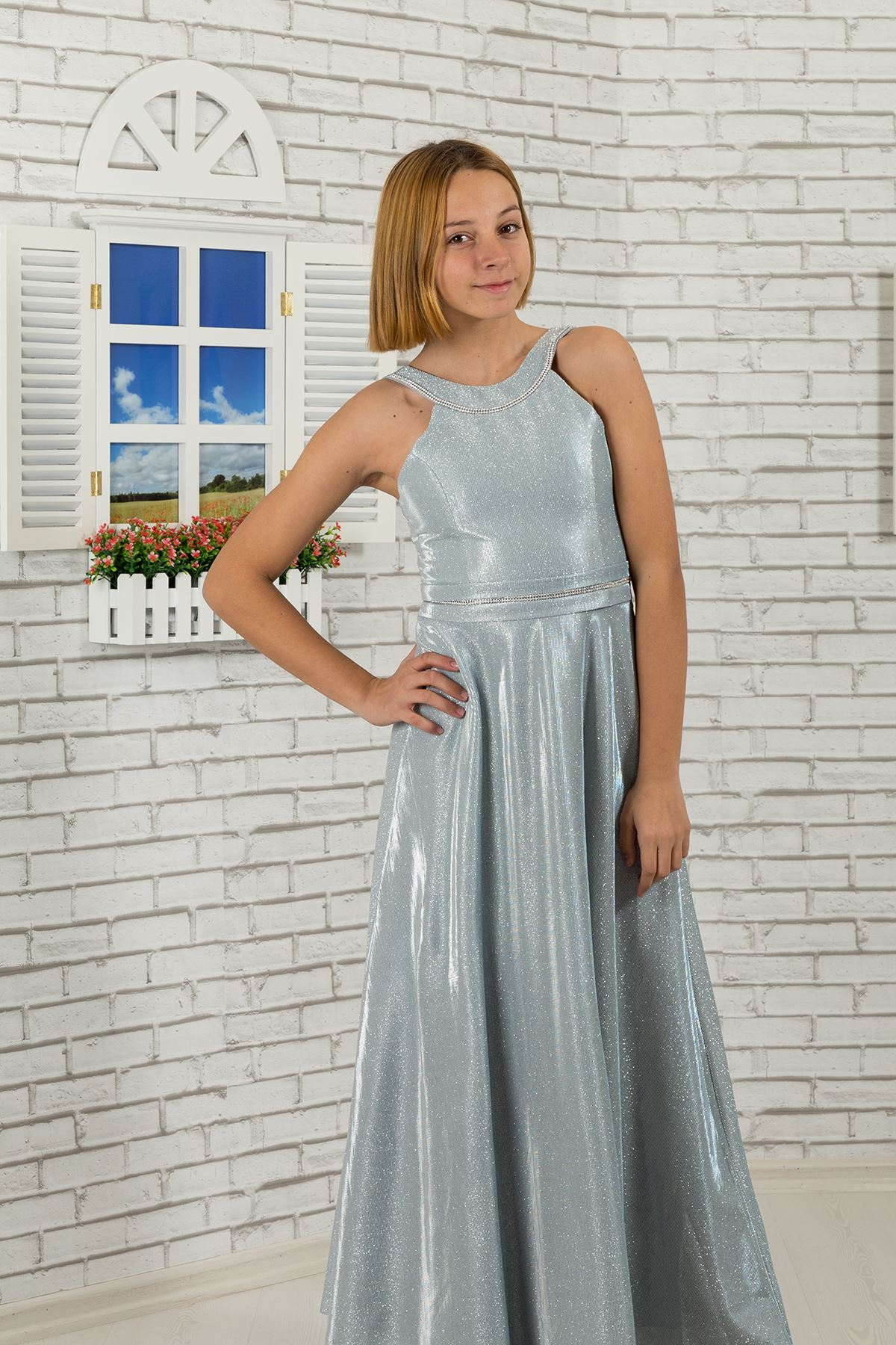 Waist and neck Stone detailed, silvery fabric girl children evening dress 480 Grey