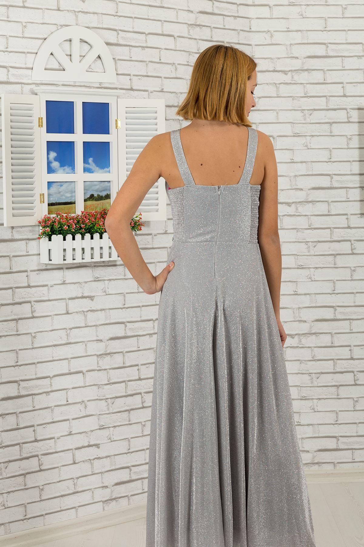 Πέτρα μέσης και λαιμών λεπτομερής, ασημένιο φόρεμα βραδιού παιδιών κοριτσιών υφάσματος 469 γκρίζο