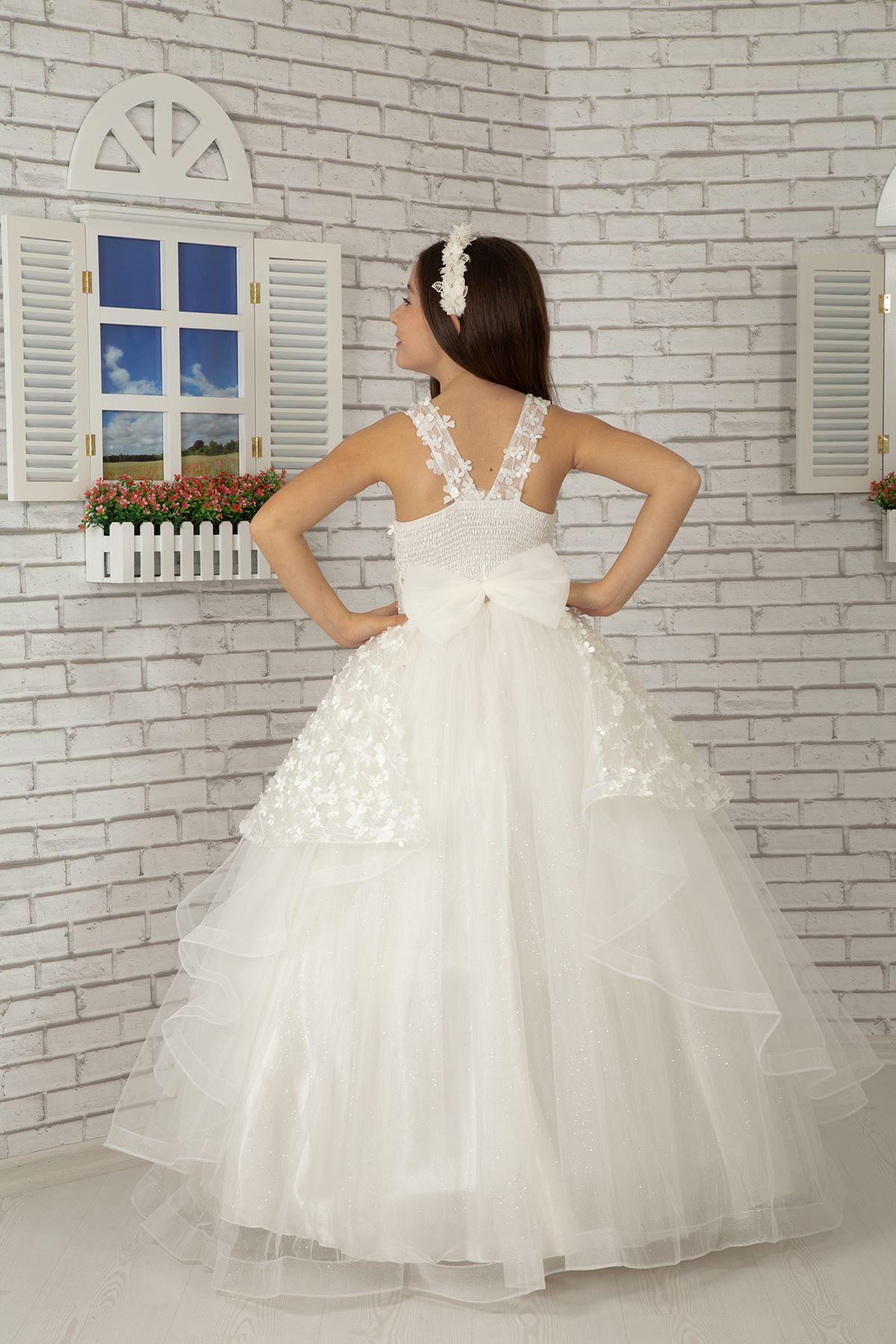 3 dimensionale Blumenspitze, Rock detail, Flauschige Mädchen Abendkleid 609 Creme