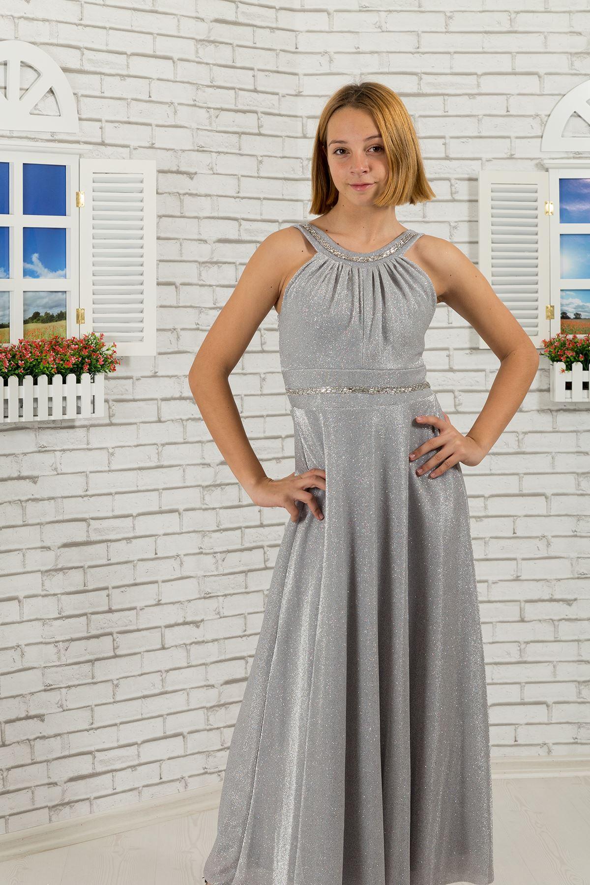 Bel ve boyun taş detaylı, simli kumaş Kız Çocuk Abiye Elbise 469 Gri