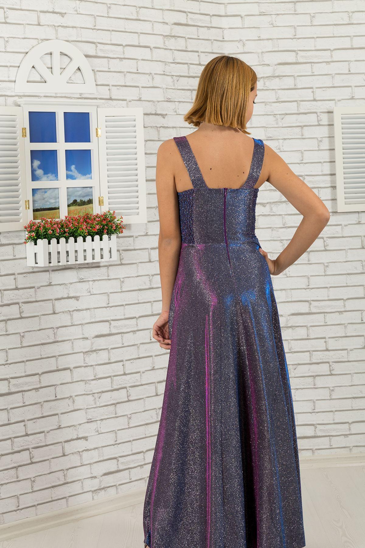 Taille détaillée, argenté Tissu Fille Enfants Robe de soirée 479 Violet