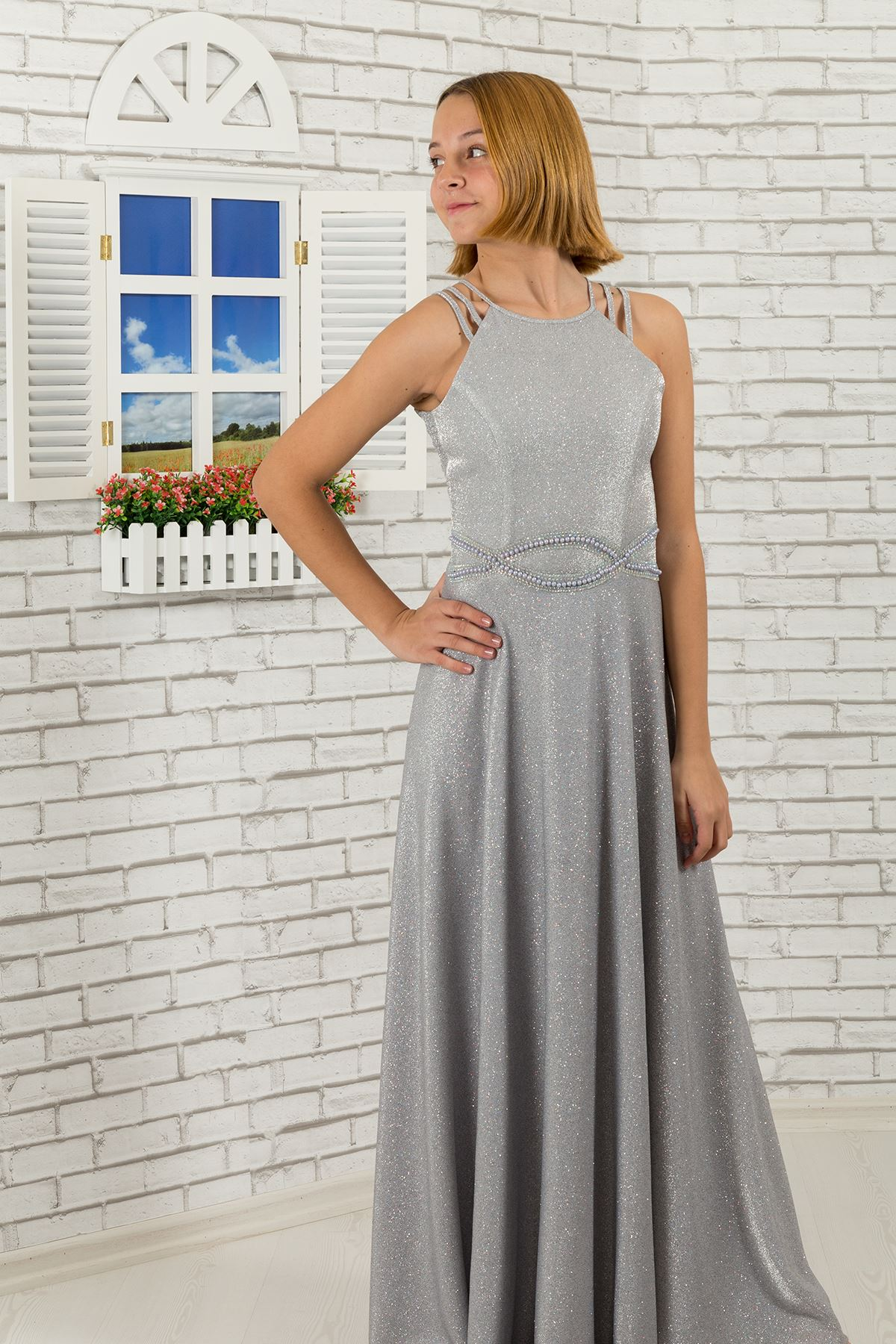 Waist print stone, shoulder detail, custom silvery fabric girl children evening dress 511 Grey