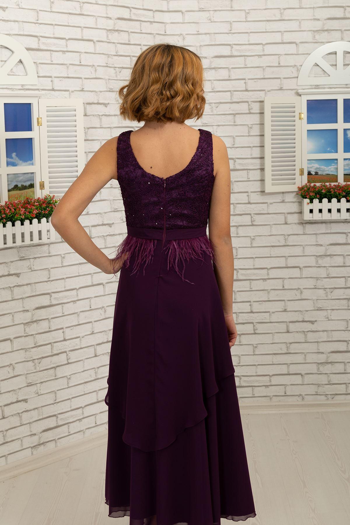 Body lace coated, skirt detailed chiffon girl children evening dress 494 Purple