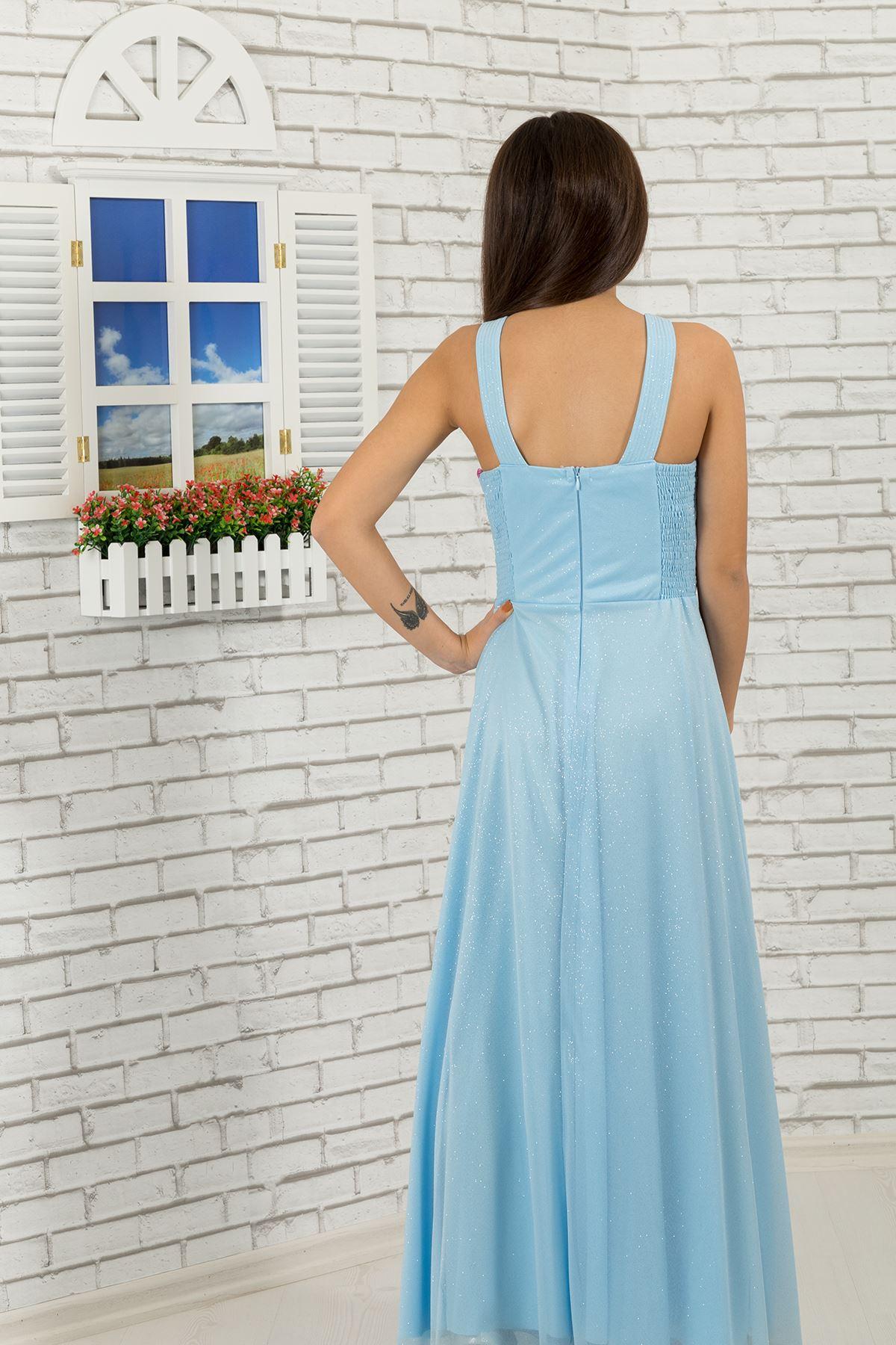 פרט מותניים וצוואר, שמלת ערב שיפון כסופה כסופה של ילדה 472 תכלת