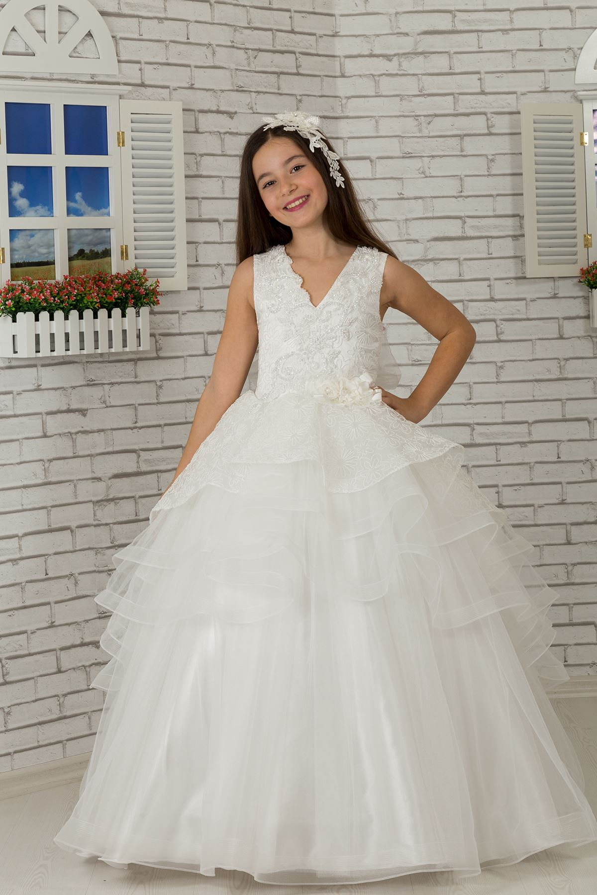 Σώμα που κεντιέται, μέση λεπτομερής αφράτη κρέμα βραδιού φορεμάτων 626 παιδιών κοριτσιών