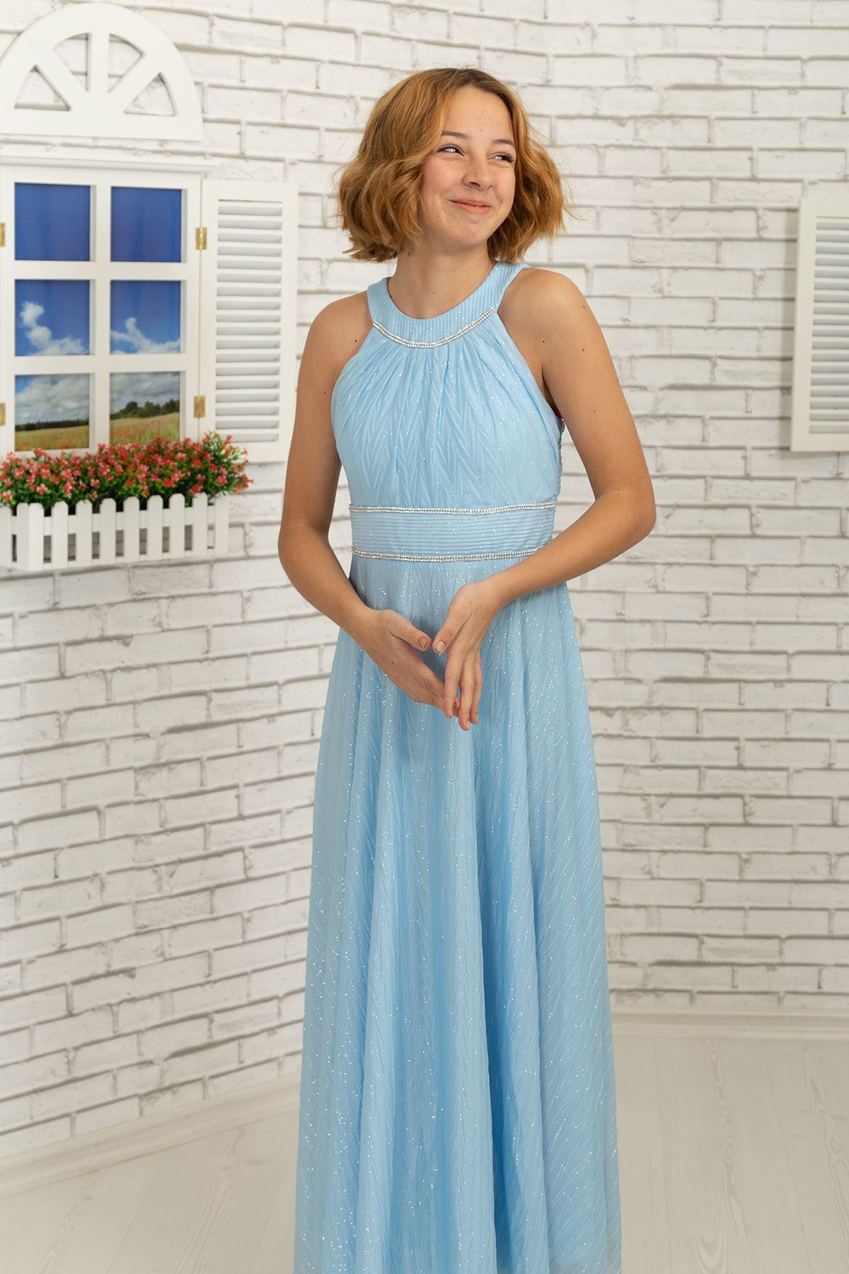 Bel ve boyun taş detaylı, zigzag simli şifon Kız Çocuk Abiye Elbise 468 Bebe Mavi