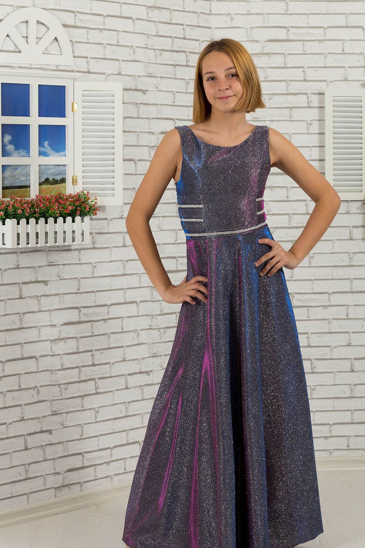 Taille detaillierte, silbrig Stoff Mädchen Kinder Abendkleid 479 Lila