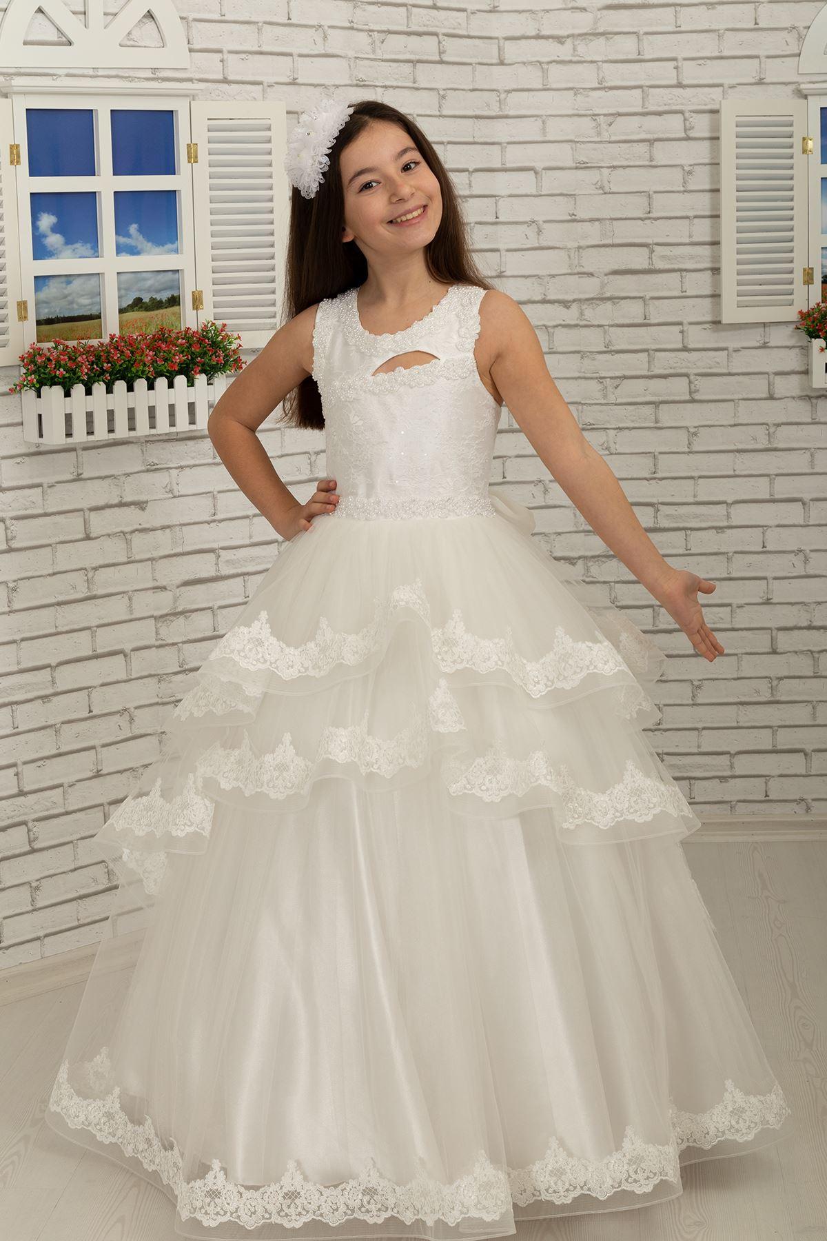 Body детайлно, бродирано, плисирана пола, пухкава вечерна рокля момиче 639 крем
