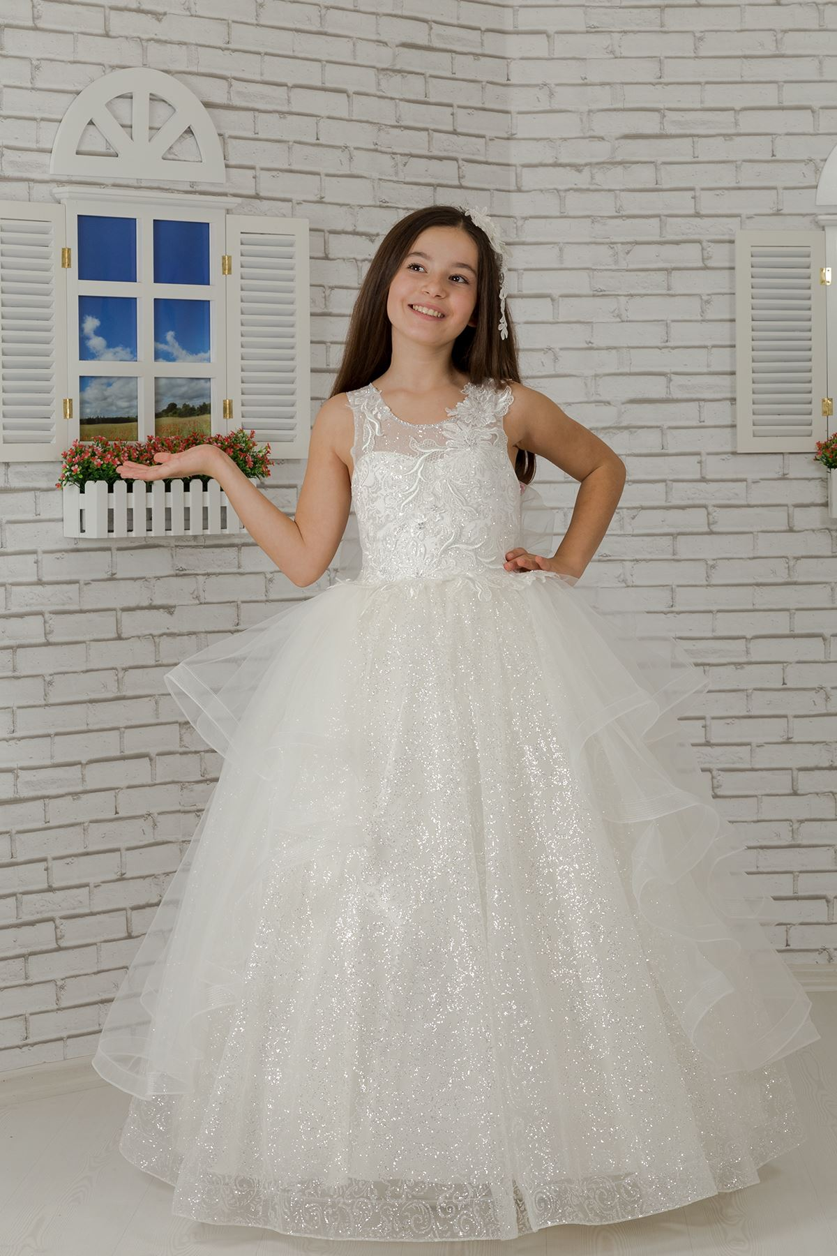 Body sconce, special silvery tulle, skirt detailed fluffy girl children evening dress 624 cream