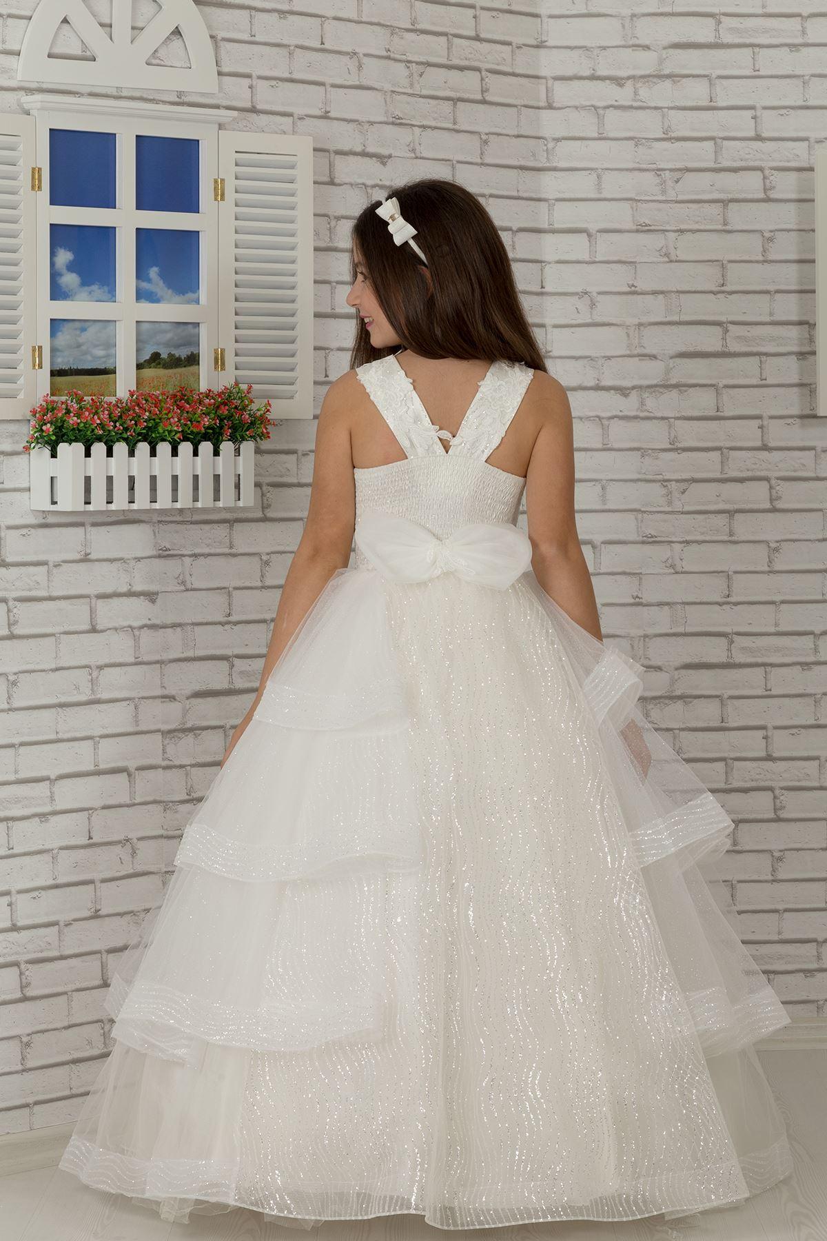 Körper bestickt, Mantel Rock detailliert, spezielle silbrig Tüll flauschige Mädchen Kinder Abendkleid 625 Creme