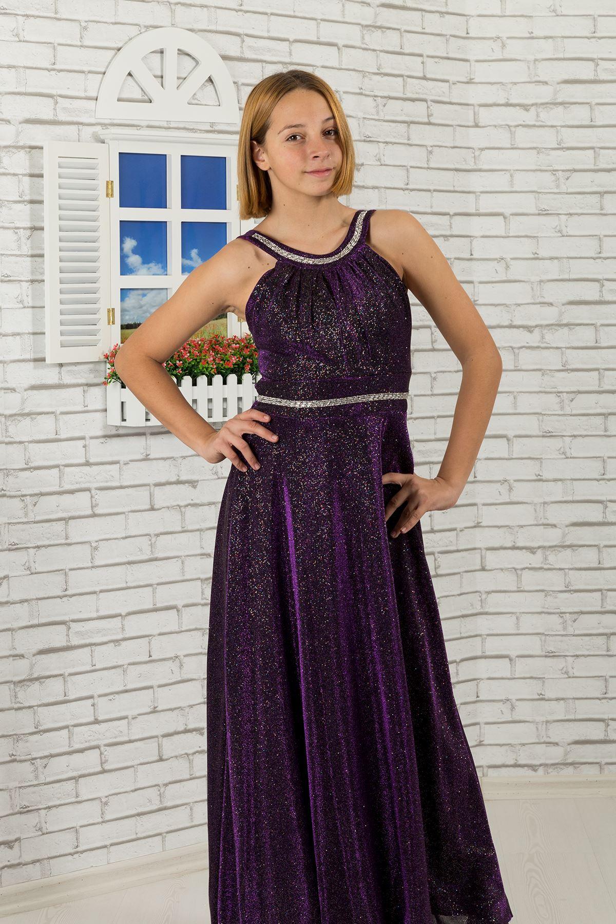 Taille und Hals Stein detaillierte, silbrig Stoff Mädchen Kinder Abendkleid 469 Lila