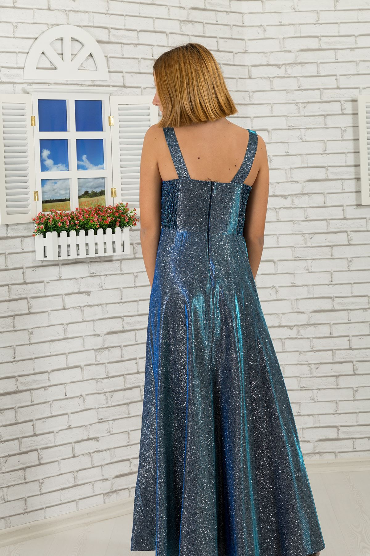 Waist detailed, silvery fabric girl children evening dress 479 Parliament