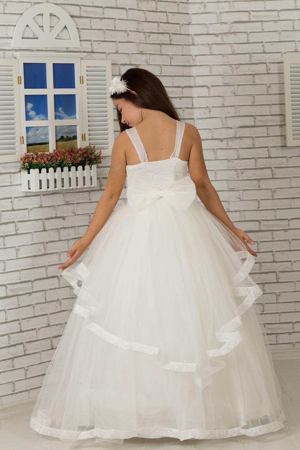 Детайли за тялото, вечерна рокля от пух Тъмно момиче 602 Крем