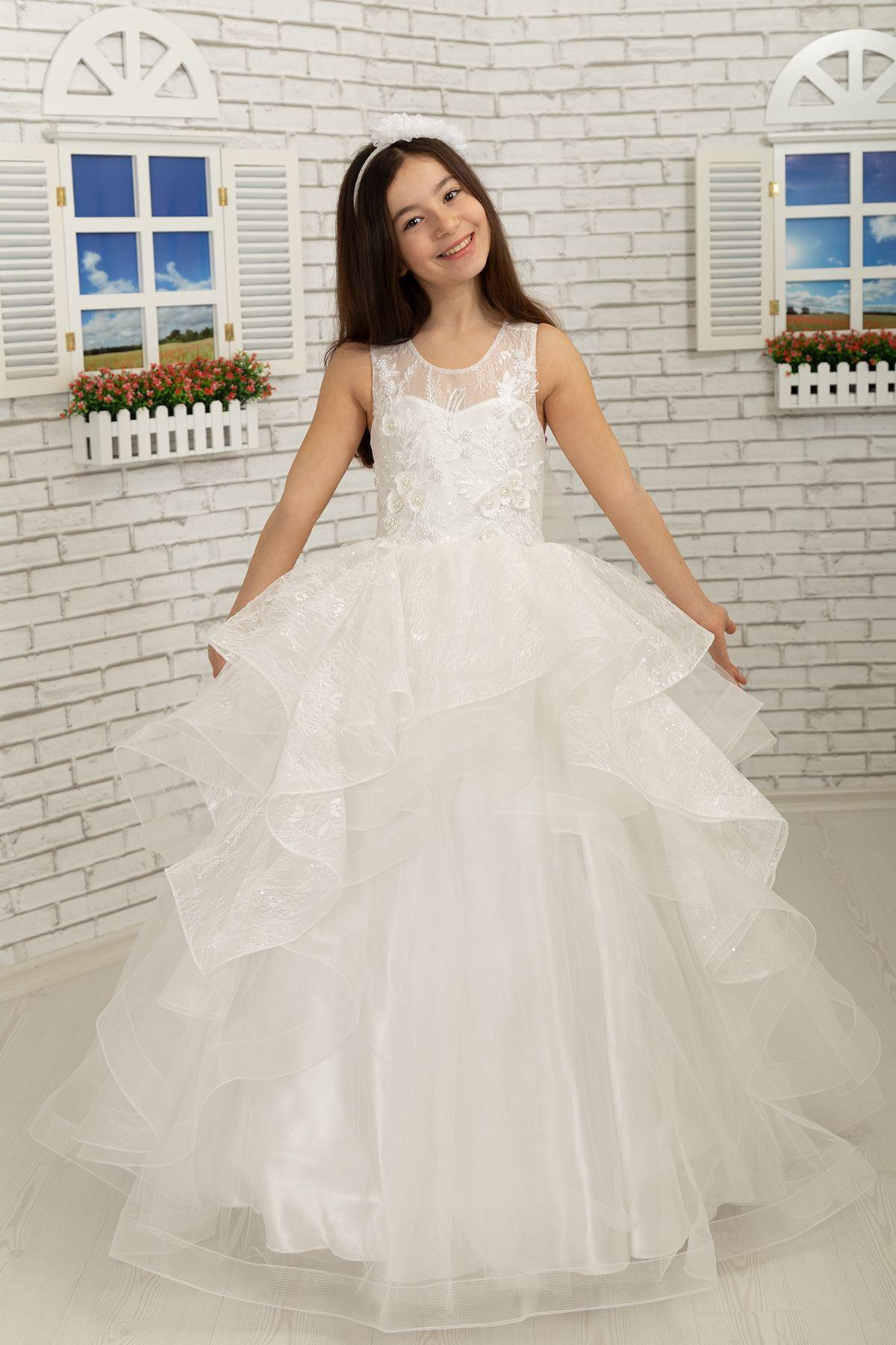 3D benutzerdefinierte silbrige Spitze Flauschige Mädchen Abendkleid 629 Creme