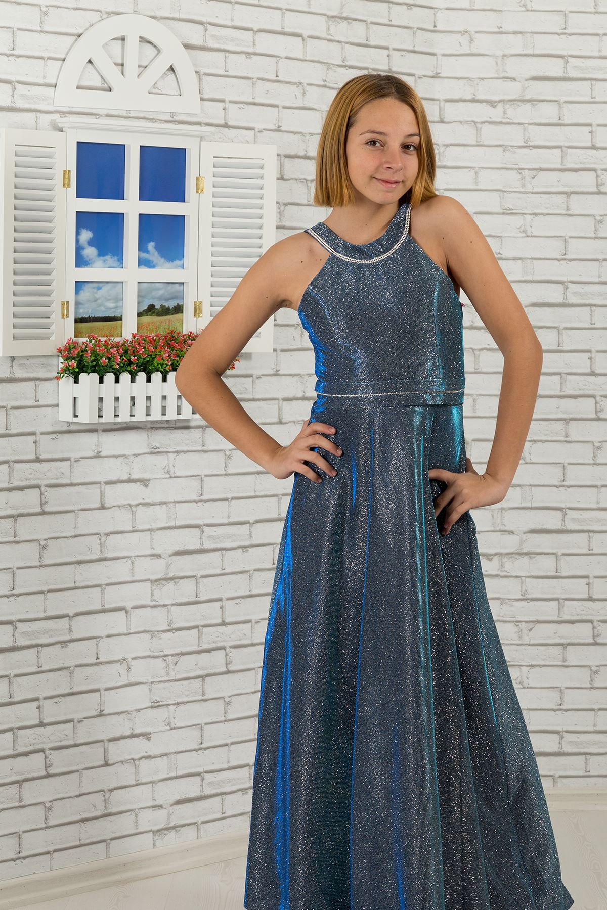 Waist and neck Stone detailed, silvery fabric girl children evening dress 480 Parliament