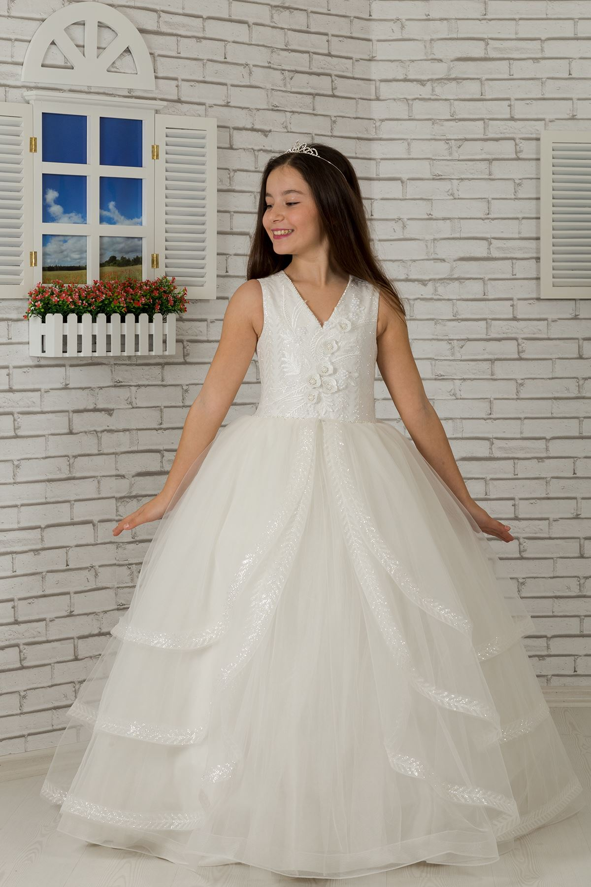 3-dimensional lace, layered skirt detail, Fluffy Girl's Evening Dress 615 Cream
