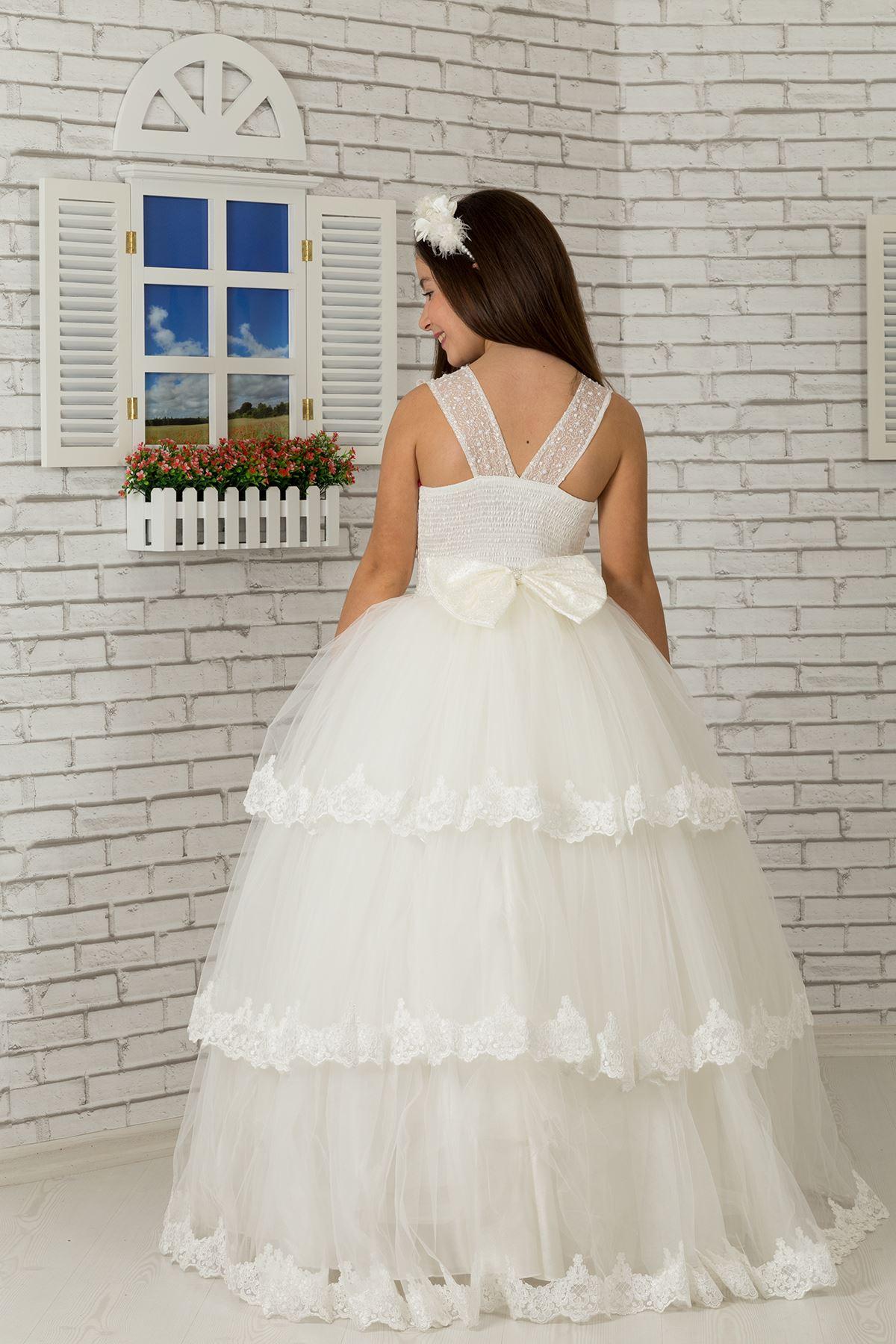 Δαντέλα κεντημένο Σώμα, πολυεπίπεδη φούστα απλικέ, τούλι αφράτο κορίτσι βραδινό φόρεμα 608 κρέμα