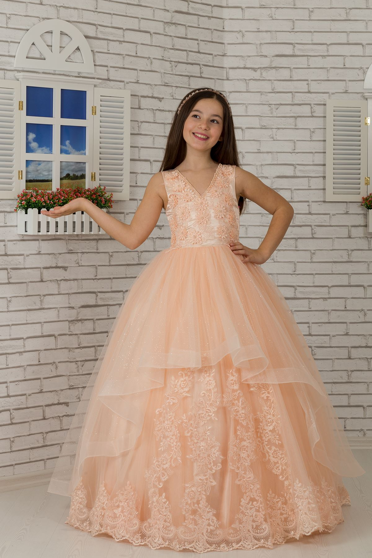 Κεντημένες Appliques, V-Neck, Tulle Fluffy Girl's Evening Dress 606 Salmon