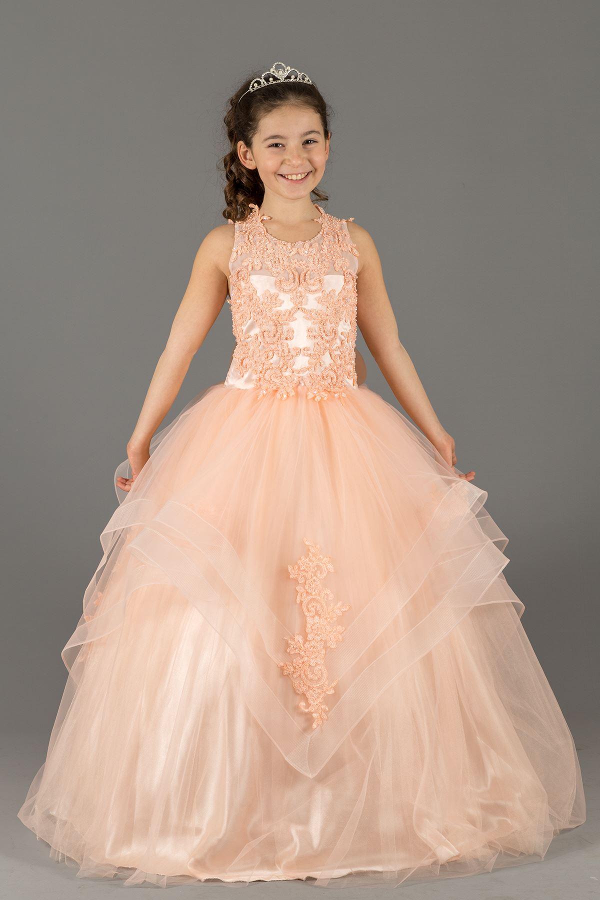 Vestido de noche mullido de la muchacha con los detalles acodados de la falda y los Appliques bordados 578 salmón
