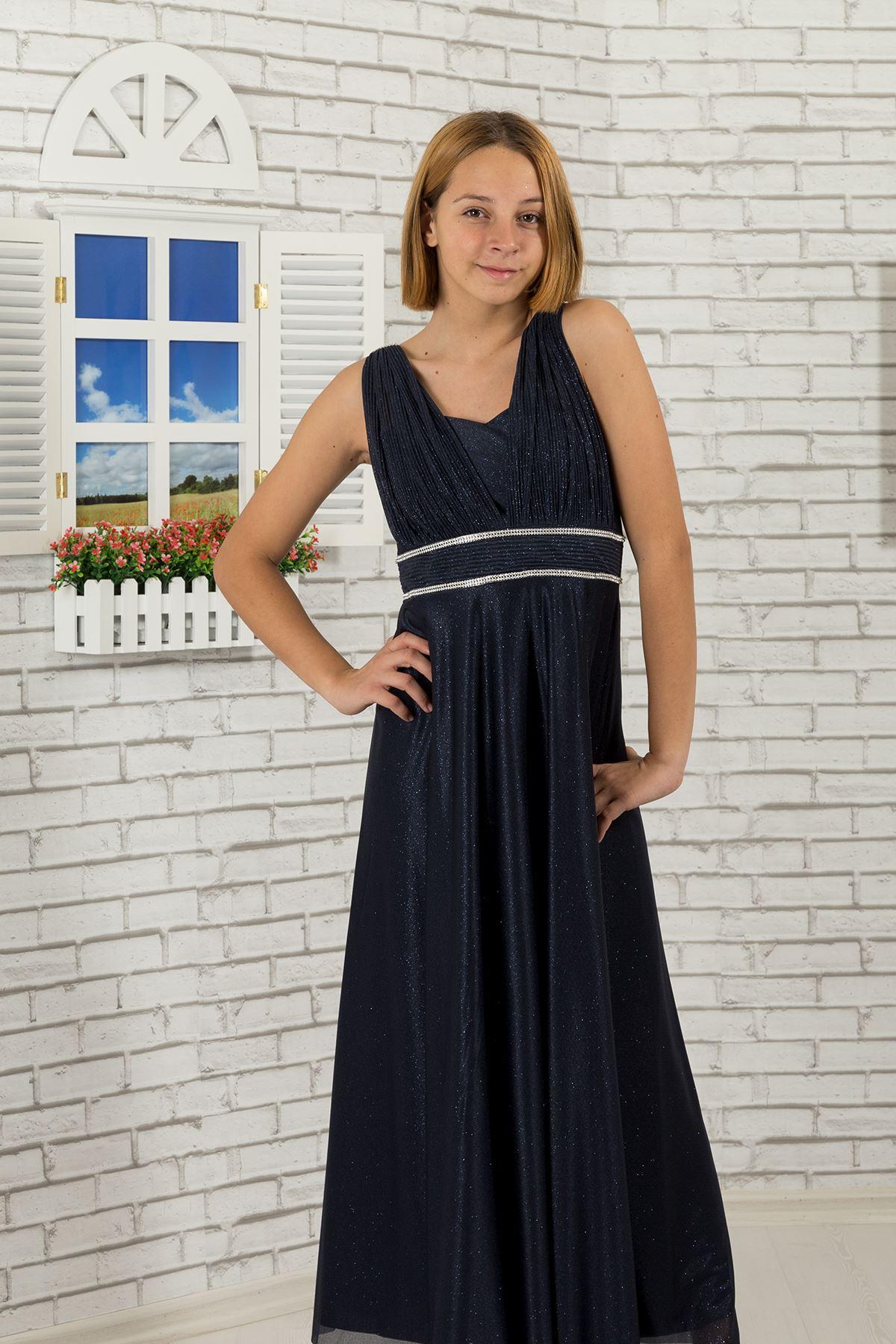 Taille pierre, Détail de col, mousseline de soie argentée fille garçon robe de soirée 473 Bleu Marine