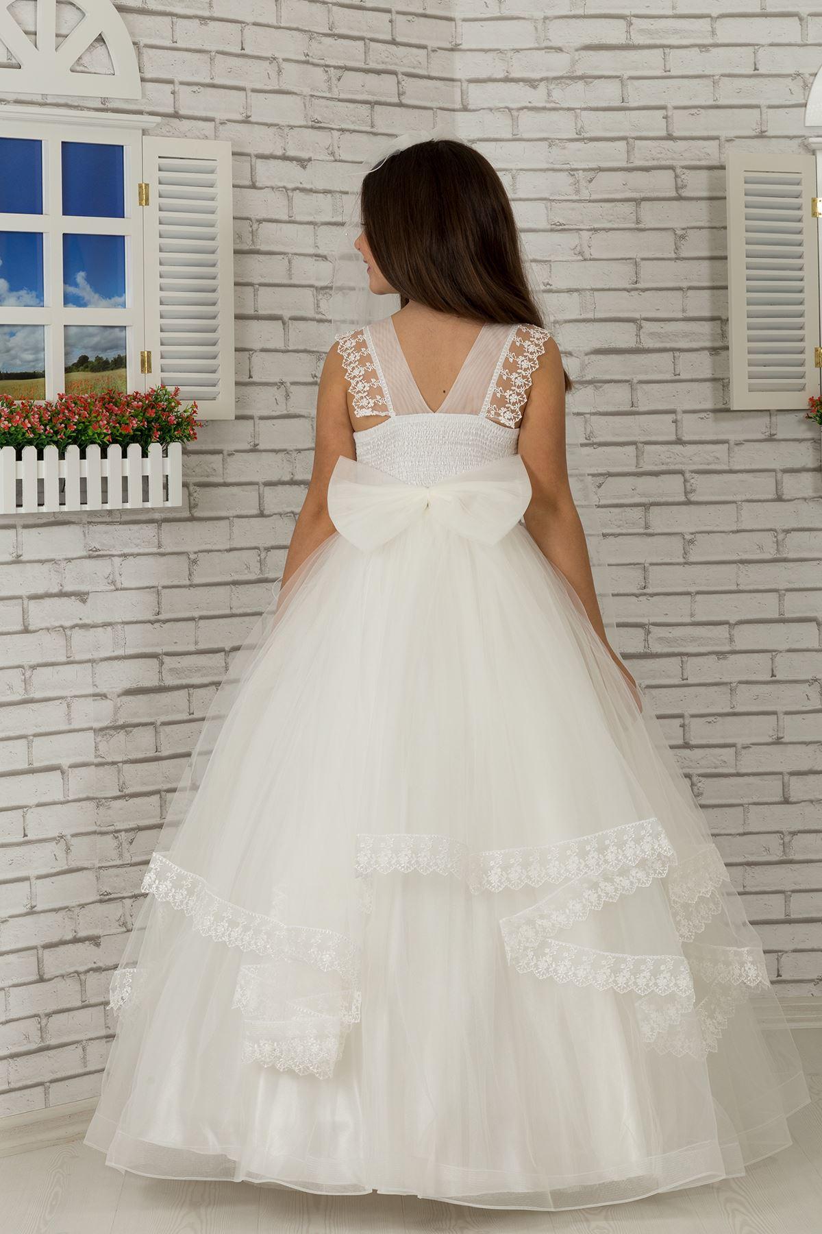 فستان فتاة منفوشة المسائي مع تفاصيل الكتف ، مطرزة ، قشدة طول 601