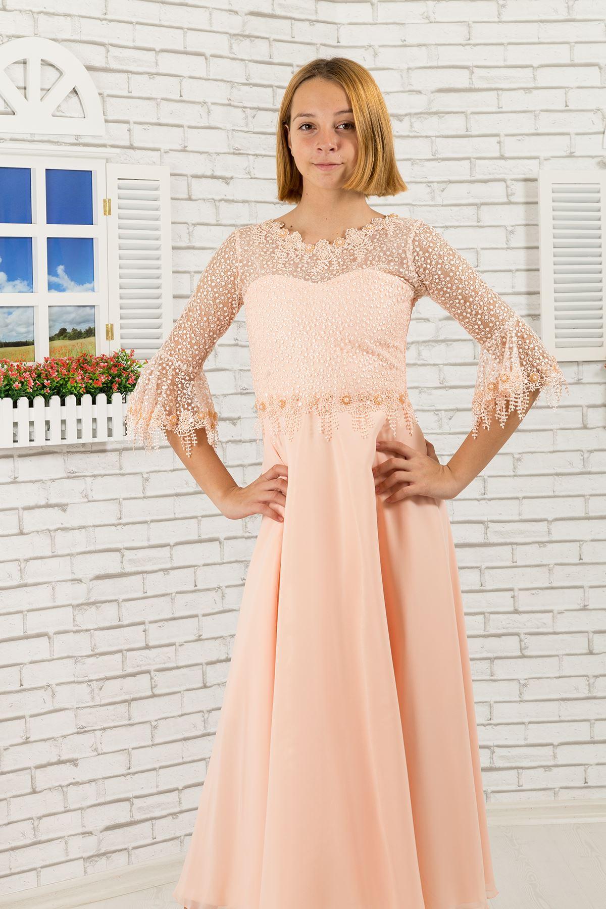Lace Sleeve Detail, Chiffon Girl Evening Dress 464 Salmon