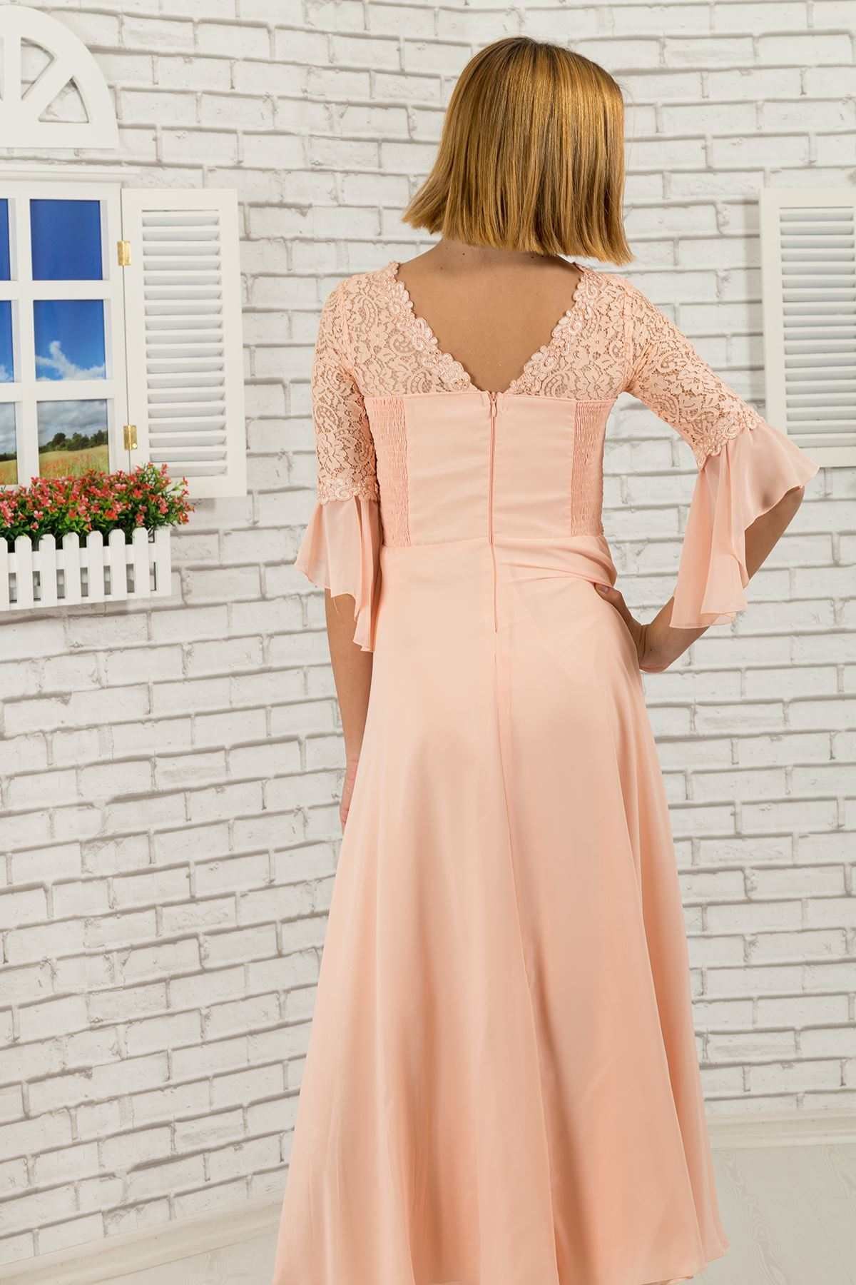Lace body and sleeves, floral detail at the waist, Girl Evening Dress 463 Salmon