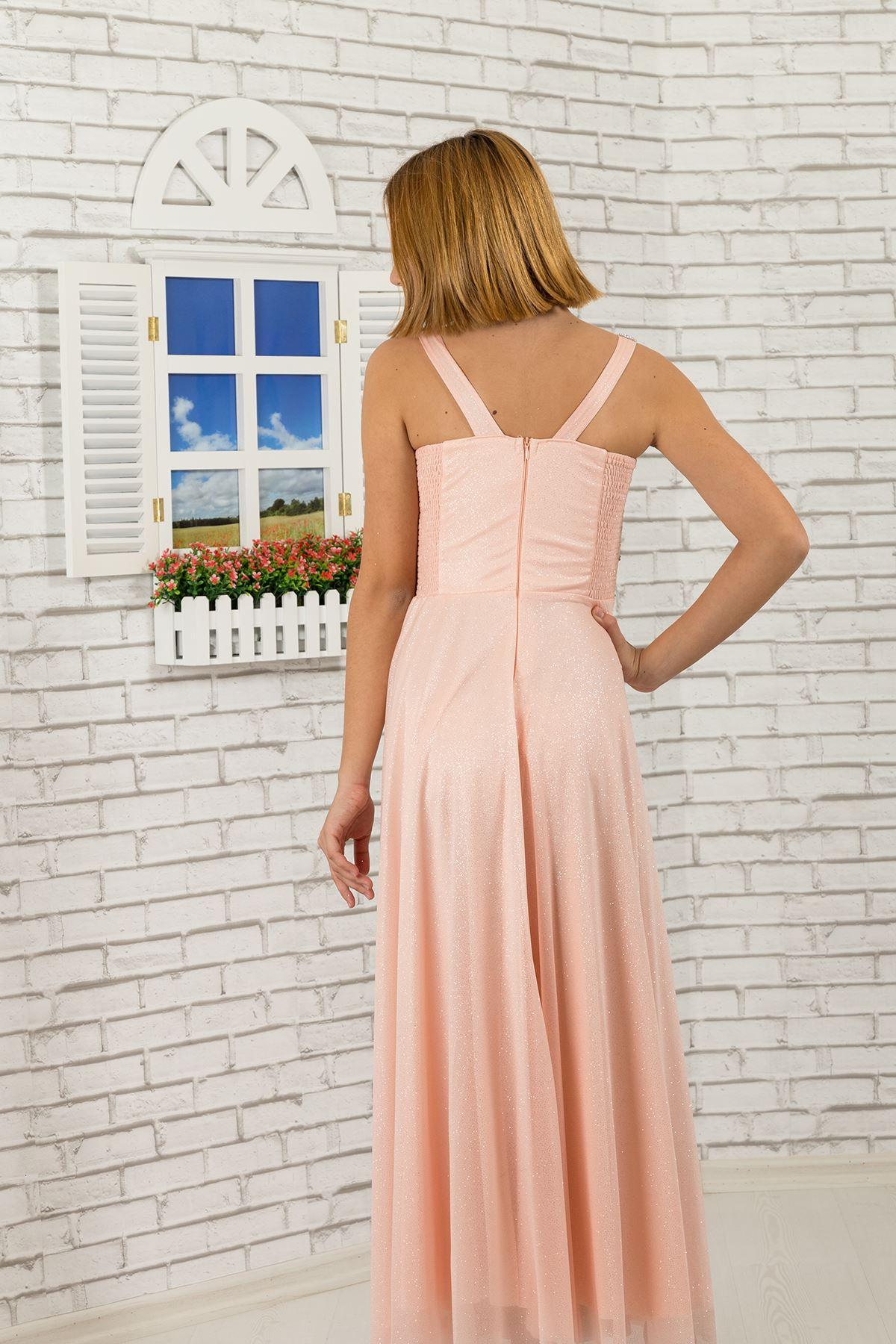 Талия с камъни, яка подробно, Сребърен шифон за момичета вечерна рокля 473 сьомга