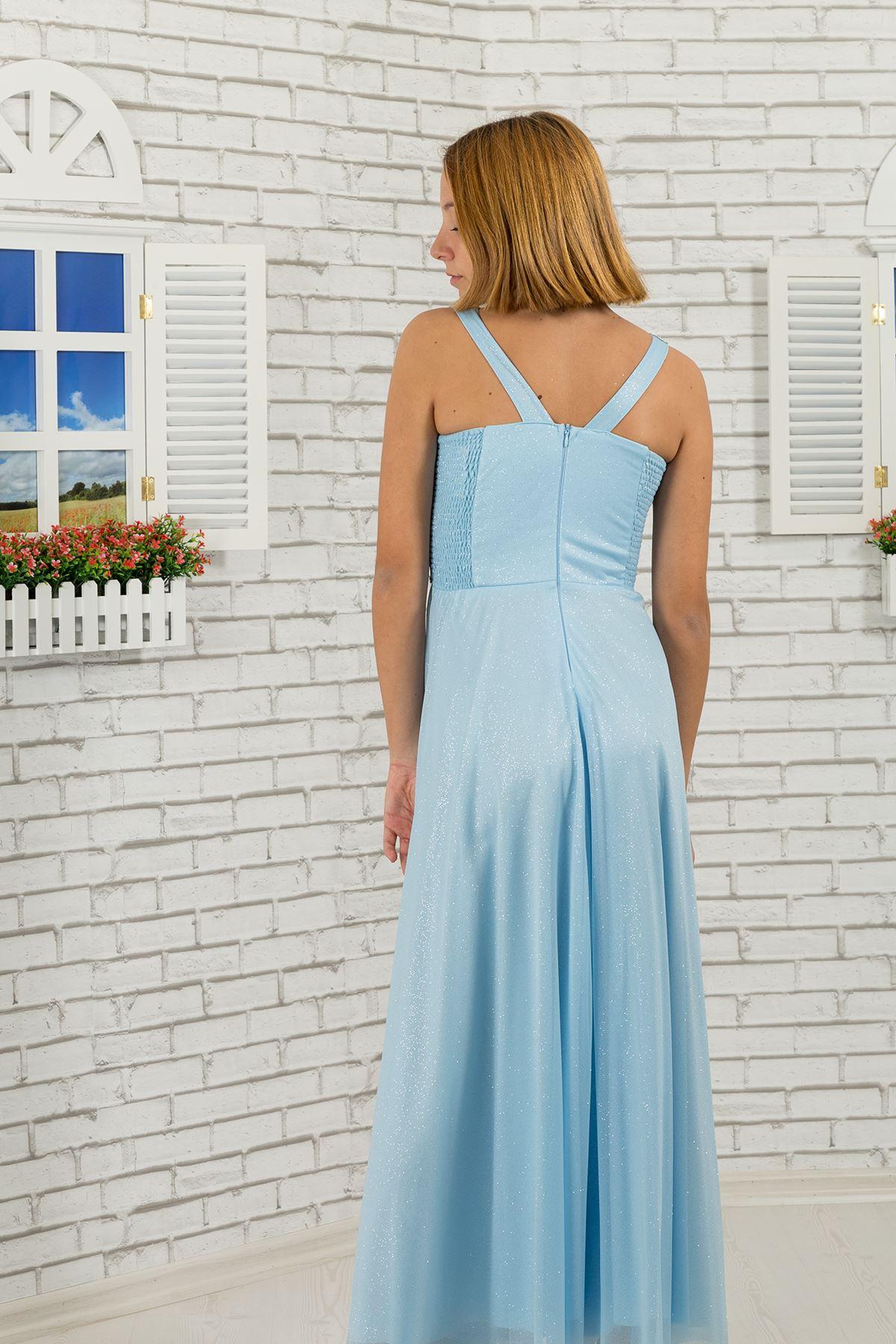 Waist stone, collar detail, silvery chiffon girl children evening dress 473 Baby Blue