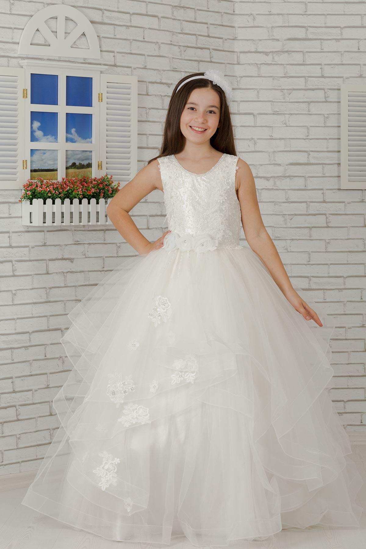 Geborduurde applique, middellyfblomdetail, tule Fluffy Girl's Evening Dress 607 Cream