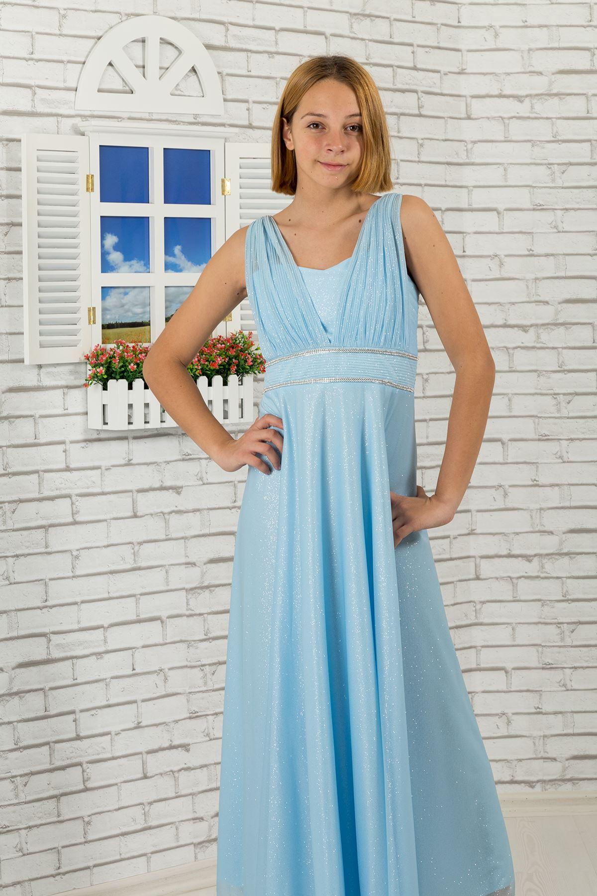 אבן מותניים, פרט צווארון, שמלת ערב ילדת שיפון כסופה 473 תינוק כחול