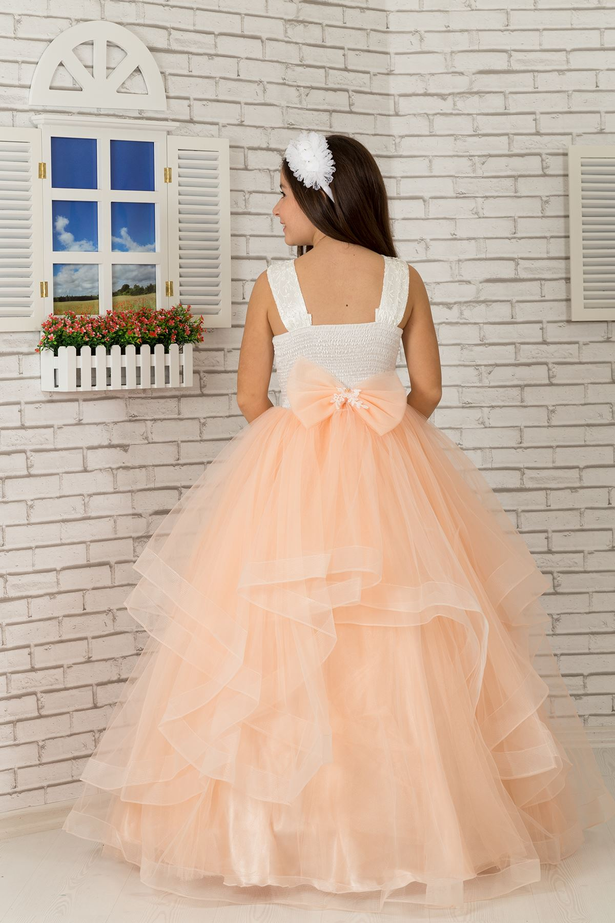 Embroidered applique, waist flower detail, tulle Fluffy Girl's Evening Dress 607 Salmon
