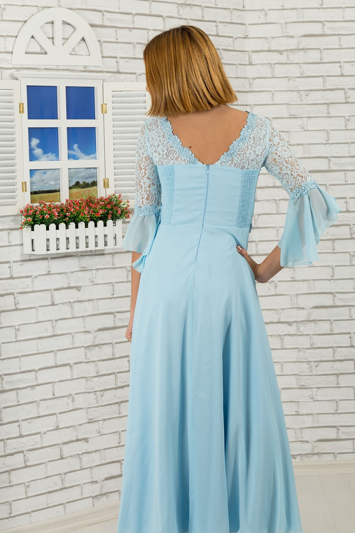 Girl's Evening Dress with lace body and sleeves, flower detail on waist 463 Baby Blue