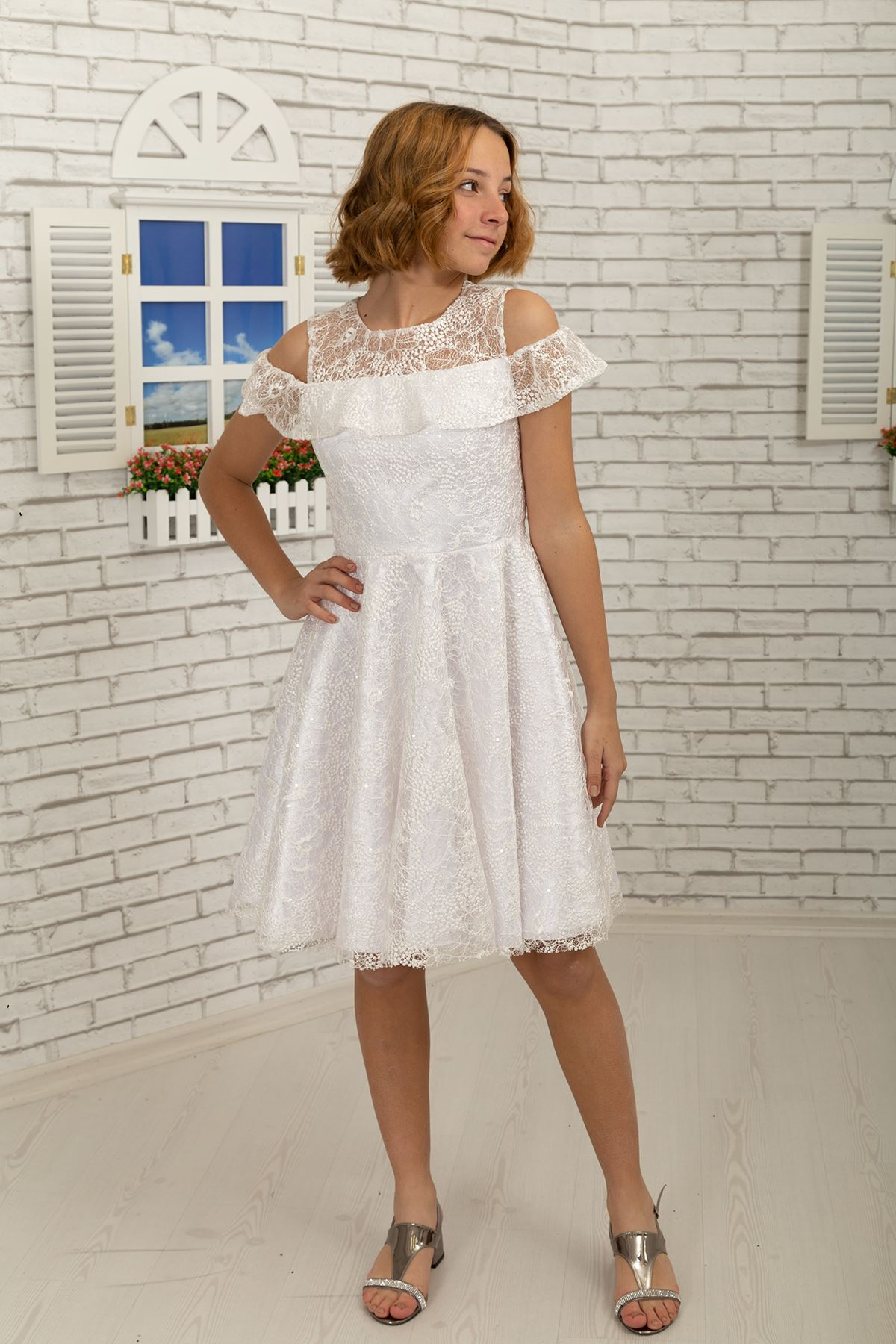 كتف مفصل ، فستان قصير لفتاة المساء 495 عاج