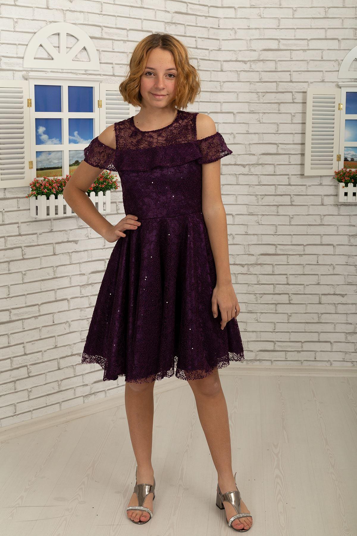 Λεπτομέρεια Ώμου, Δαντέλα Κοντή Φούστα Κορίτσι Βραδινό Φόρεμα 495 Damson Χρώμα