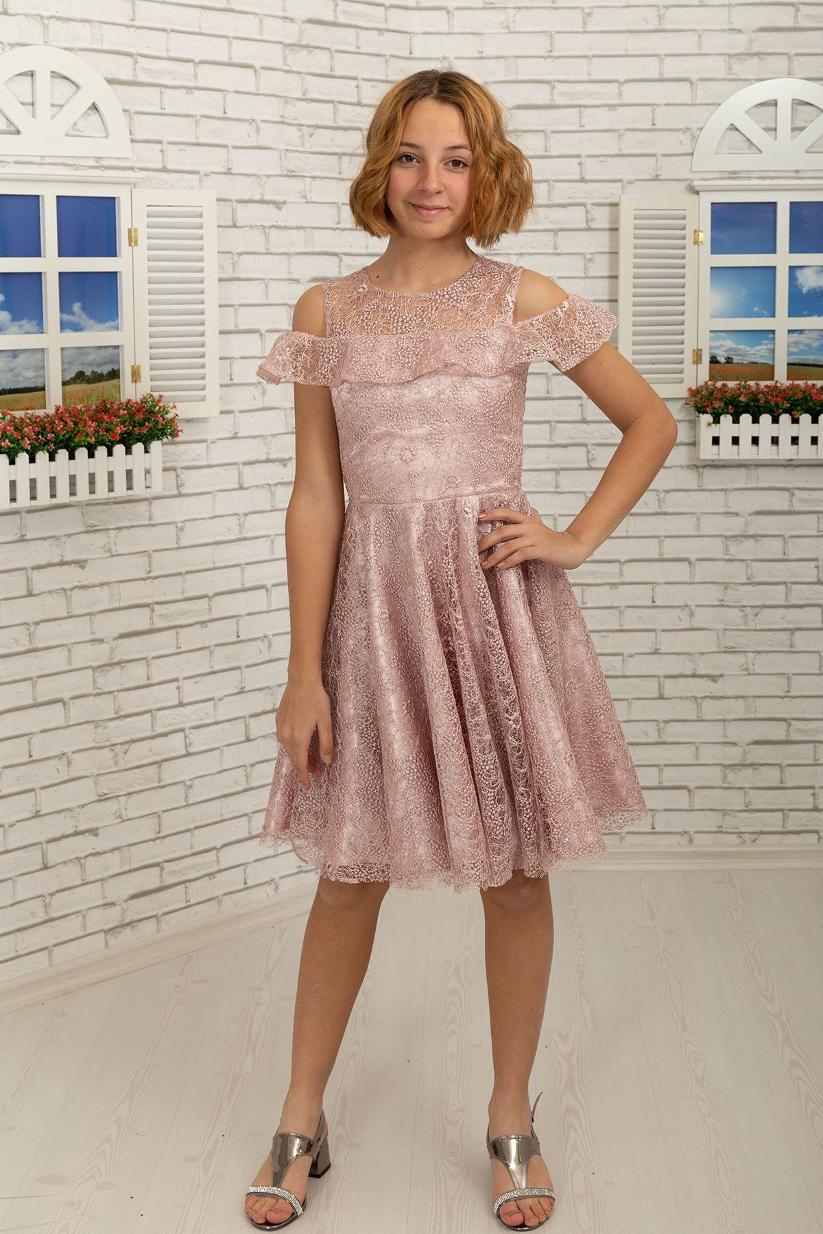 Shoulder detail, lace short Skirt Girl Evening Dress 495 Powder