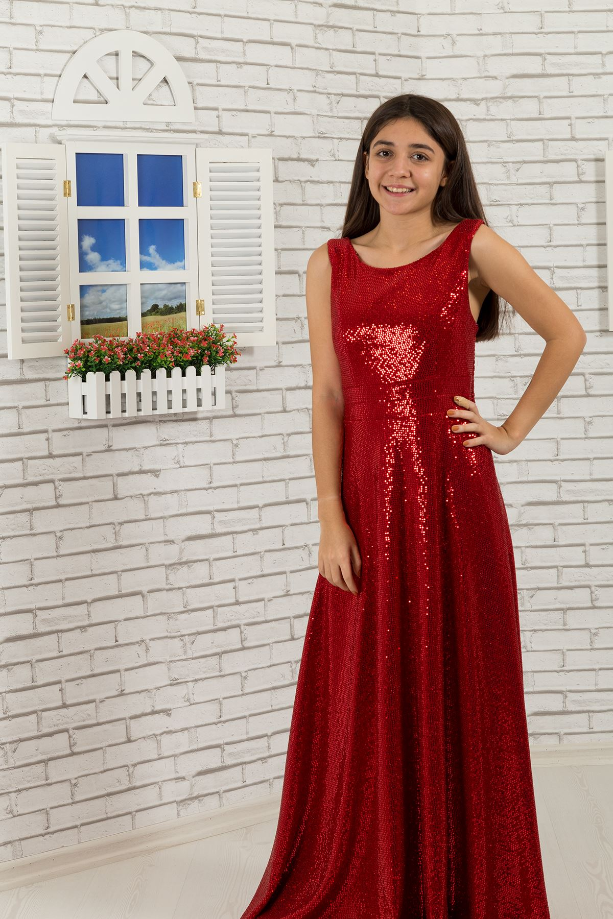 Sequin Fabric Girl Dress 477 Red