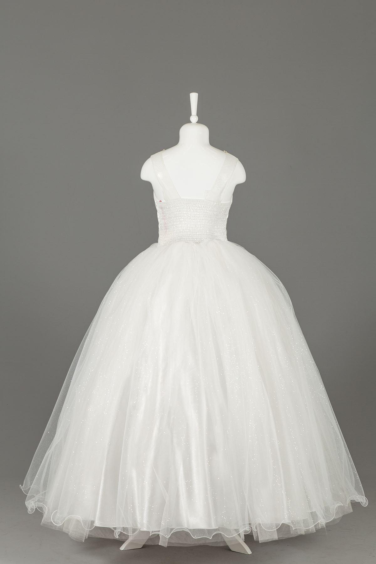 אבן שמלה ארוכה עם טול פלאפי שמלת ערב 592 קרם