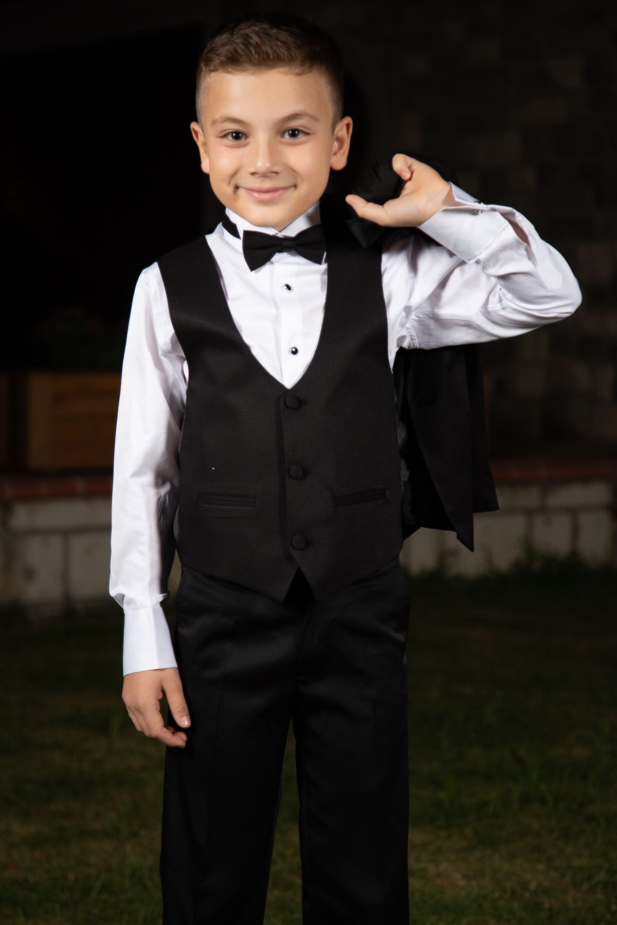 Honeycomb Pattern, Shawl Collar, Full set 4 pieces Boy Special Suit 188 Black