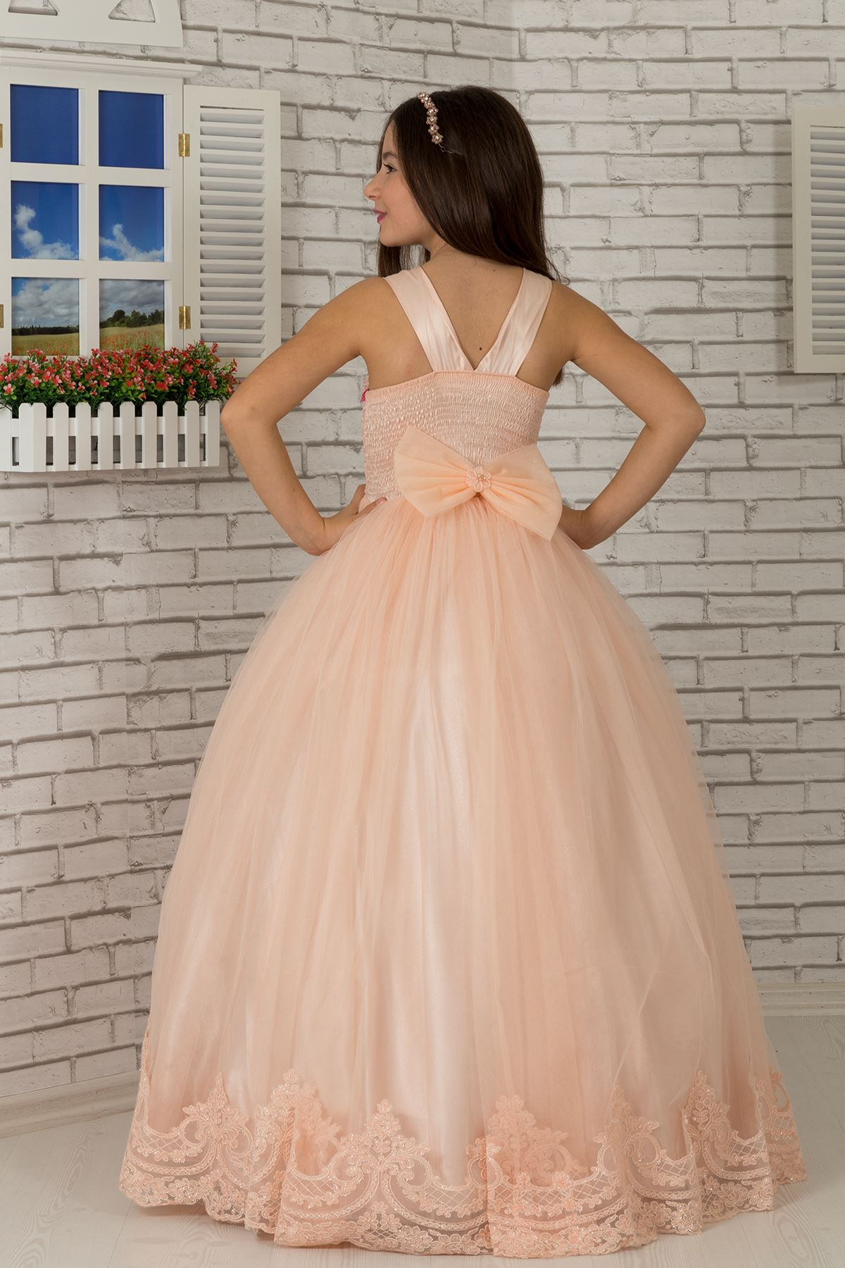 Special sequin body, embroidered appliqué, hemline detailed Fluffy Girl's Evening Dress 600 Salmon