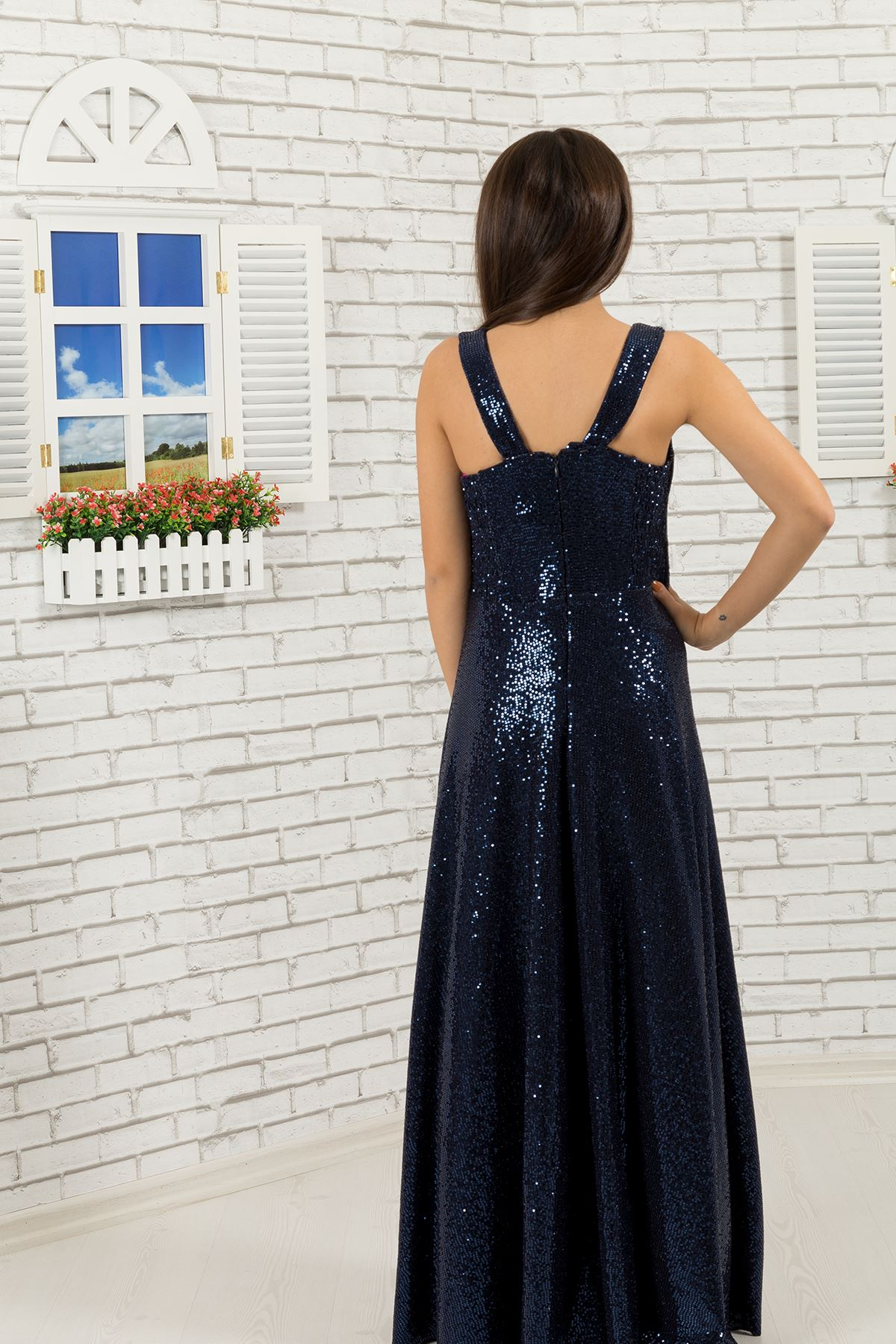 Sequin fabric Girl Evening Dress 477 Navy