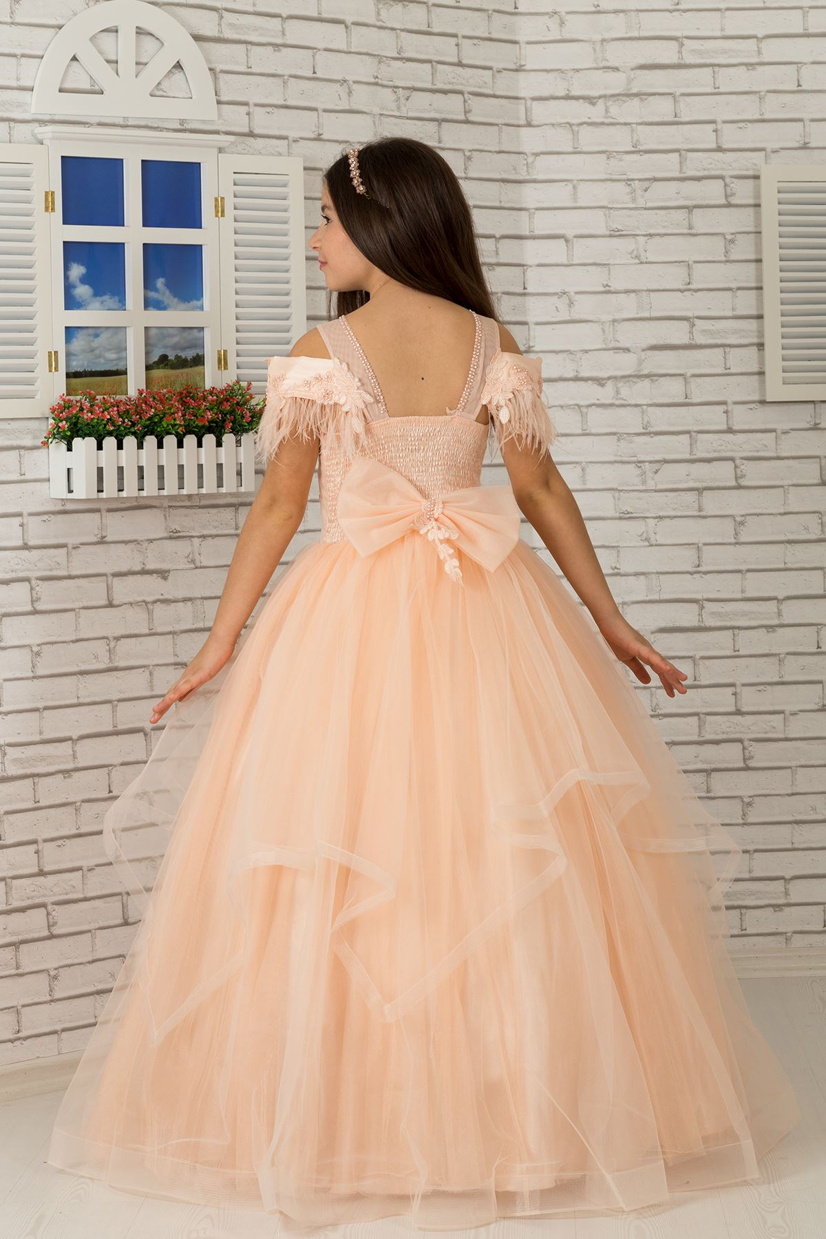 Shaggy kayak neckline detailed, scondied, tulle fluffy girl's Evening Dress Dress 604 salmon
